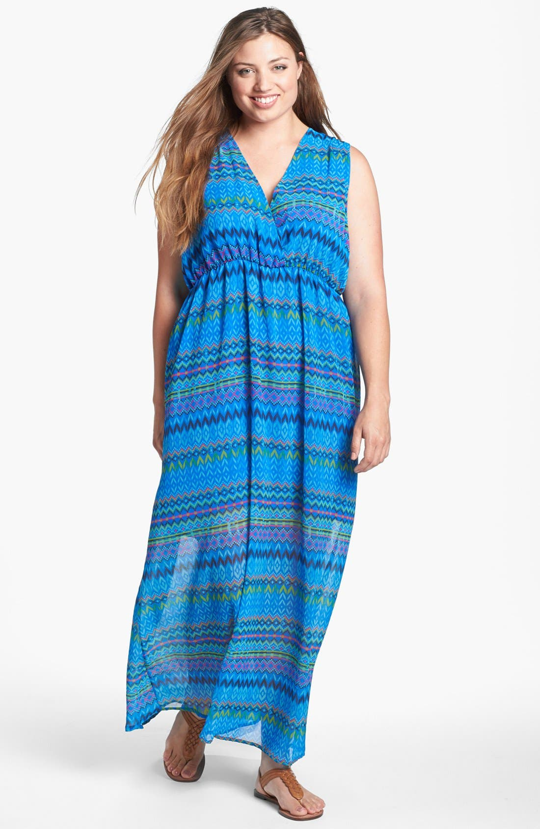 Main Image - Sweet Pea by Stacy Frati Print Chiffon Maxi Dress (Plus Size)