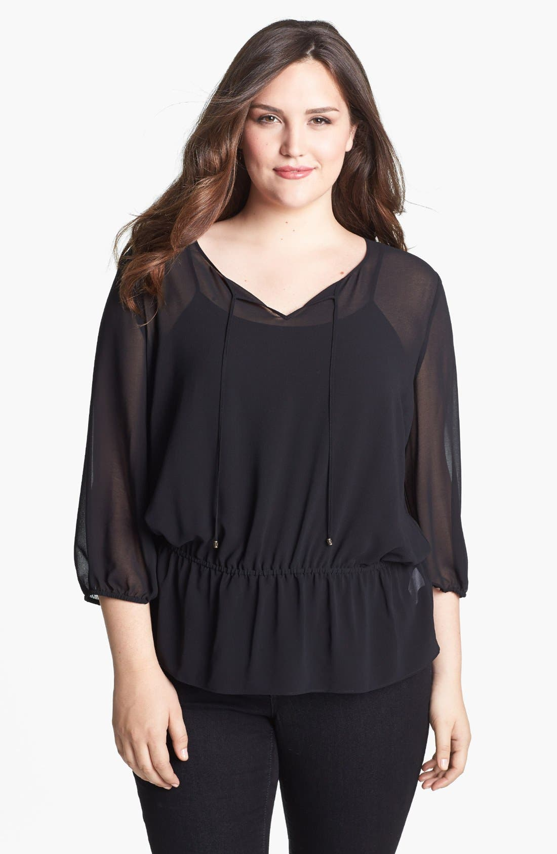 Alternate Image 1 Selected - Sejour Chiffon Tunic (Plus Size)