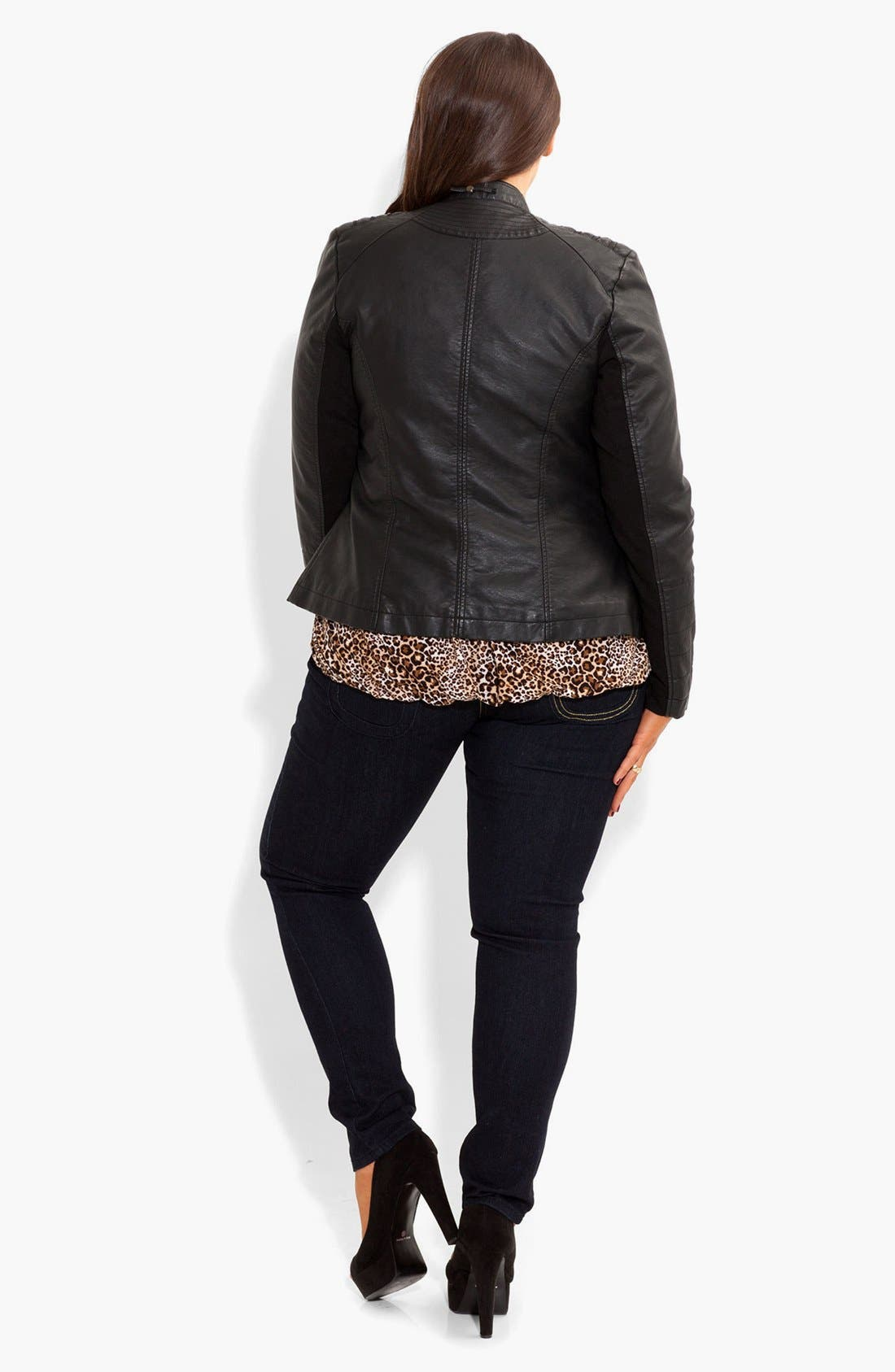 Alternate Image 4  - City Chic Faux Leather Biker Jacket (Plus Size)