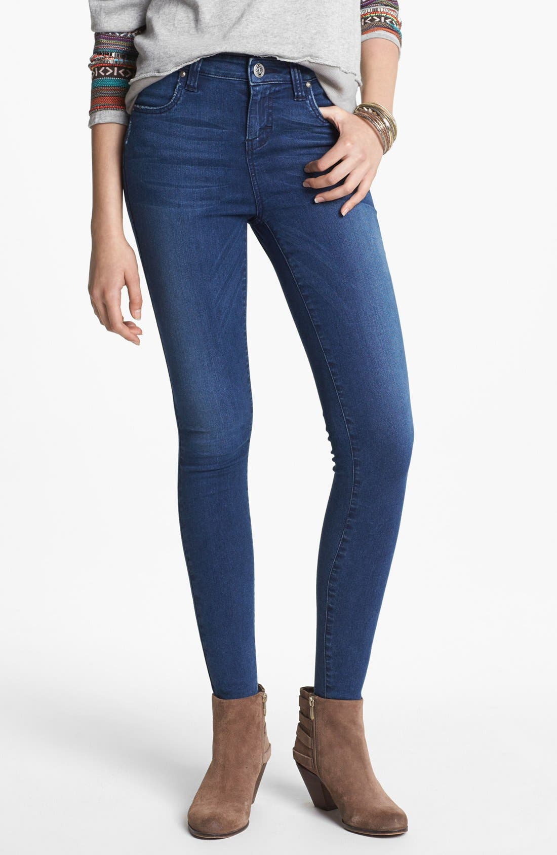 Alternate Image 1 Selected - STS Blue High Waist Skinny Jeans (Arctic Blue) (Juniors)