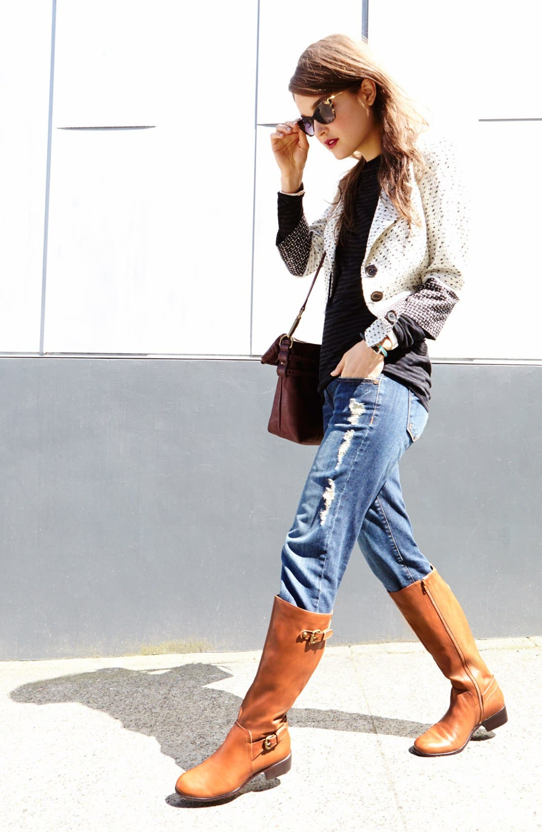 Alternate Image 4  - Halogen® Colorblock Tweed Jacket
