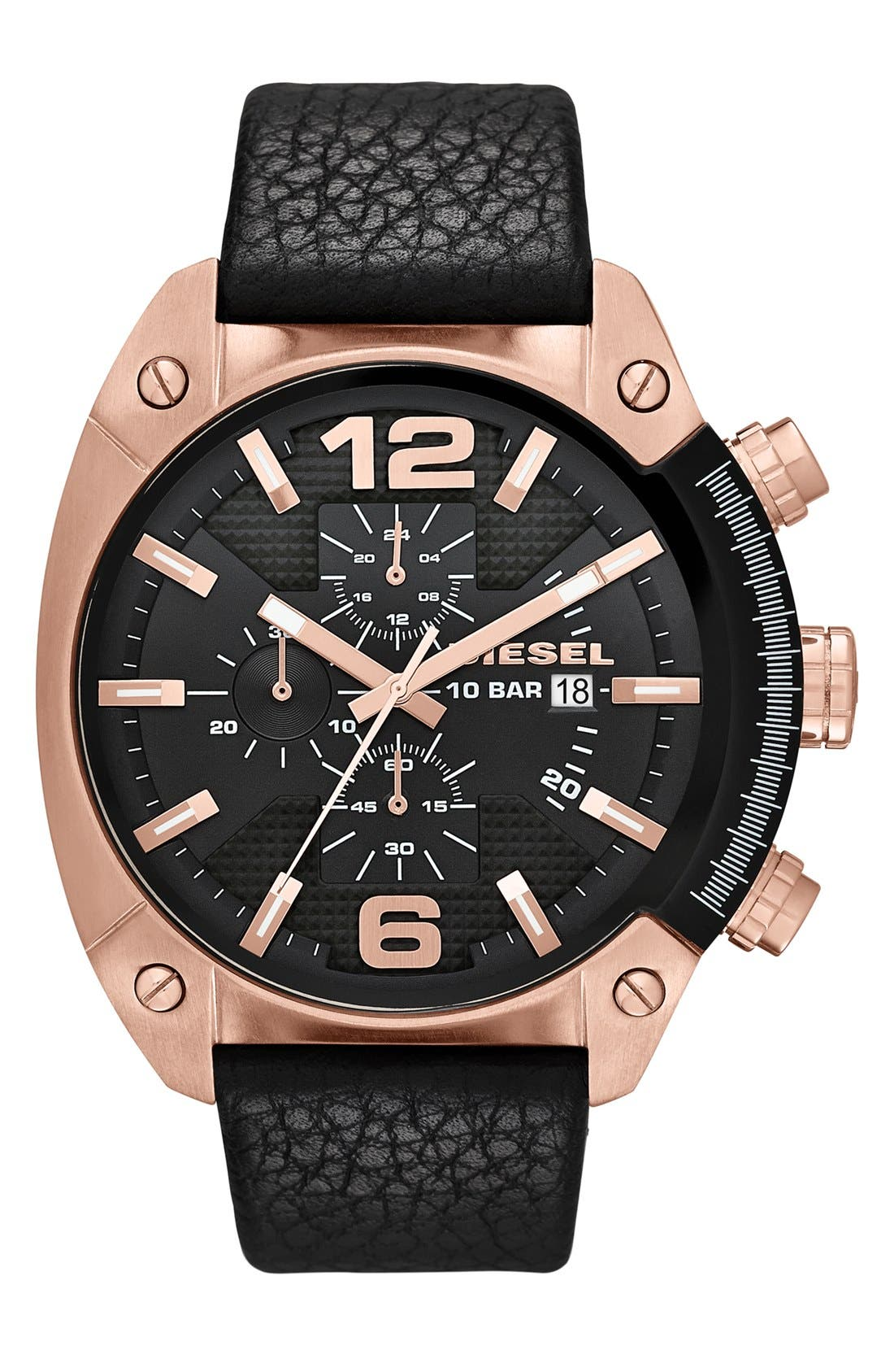 Main Image - DIESEL® 'Overflow' Chronograph Leather Strap Watch, 46mm x 49mm