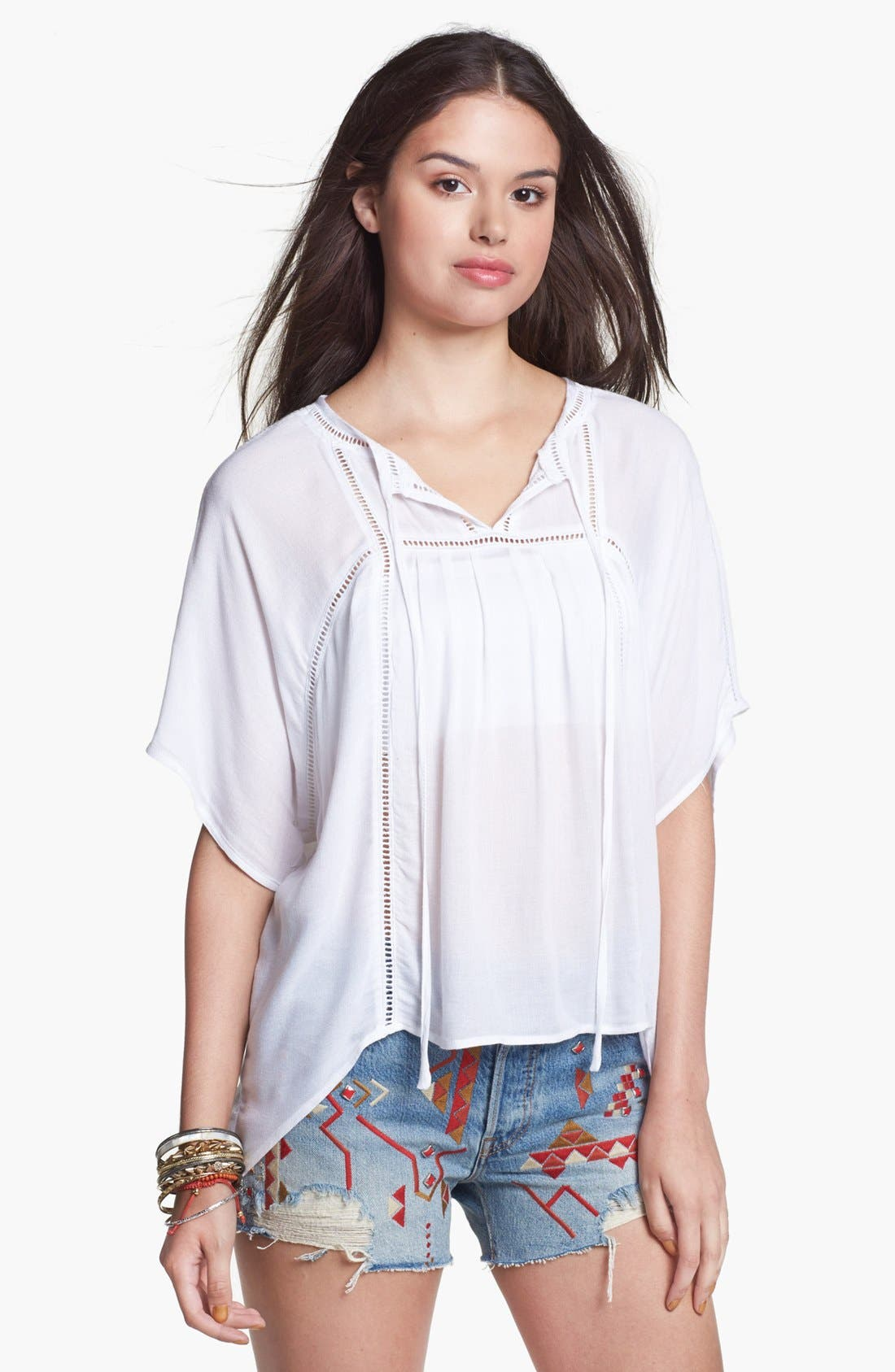 Alternate Image 1 Selected - Haute Society Embroidered Cutout Top (Juniors)
