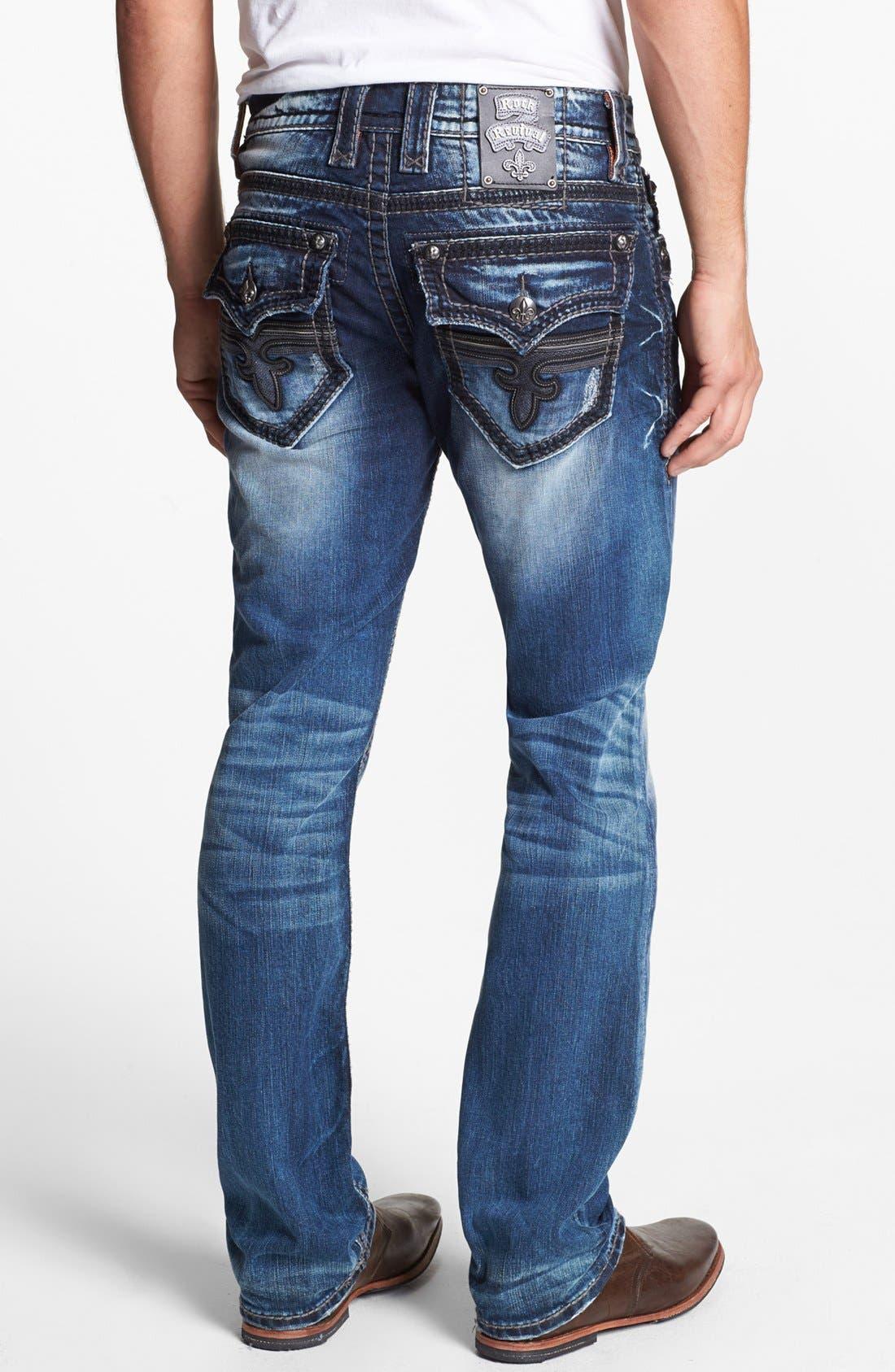 Alternate Image 1 Selected - Rock Revival 'Tim Alternative' Straight Leg Jeans (Medium Blue)