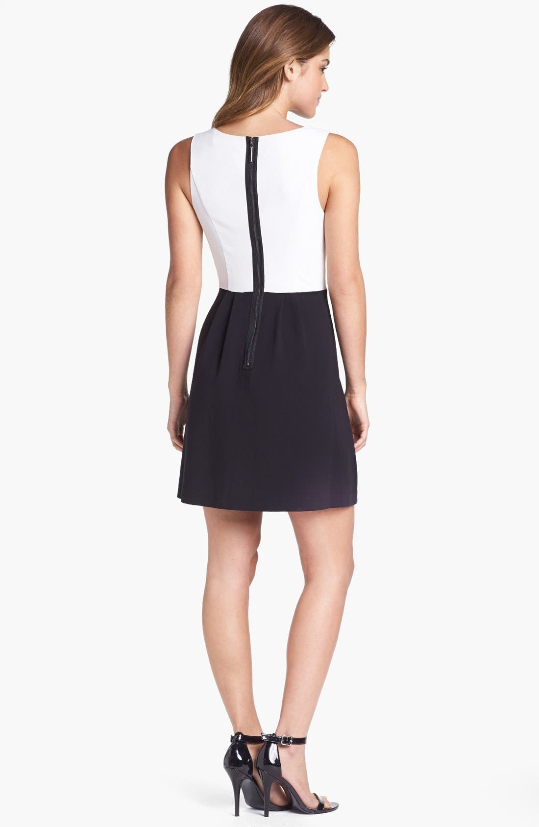 Alternate Image 2  - kensie Laser Cut Faux Leather Inset Colorblock Dress