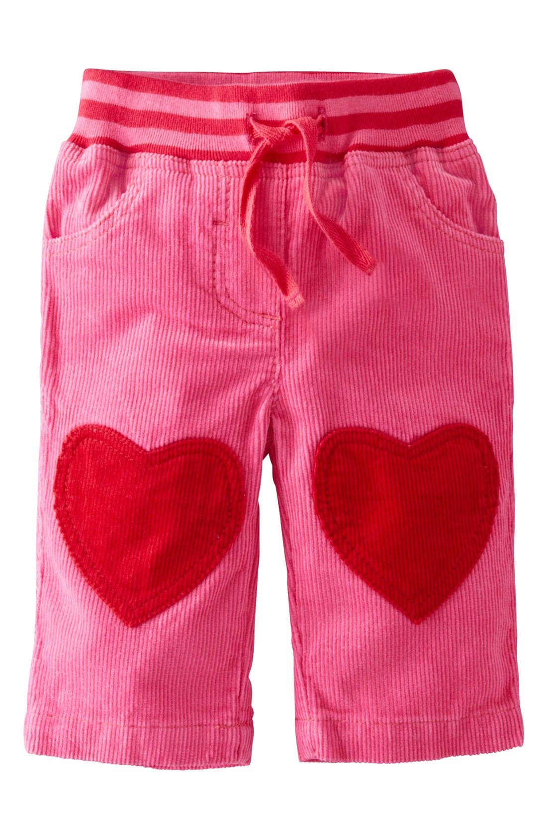 Alternate Image 1 Selected - Mini Boden Heart Patch Pants (Baby Girls)