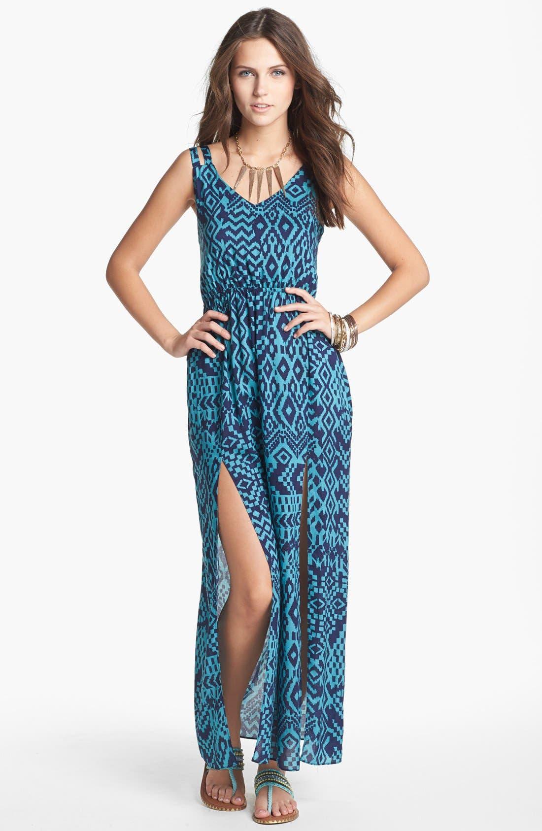 Main Image - dee elle Double Strap Maxi Dress (Juniors)