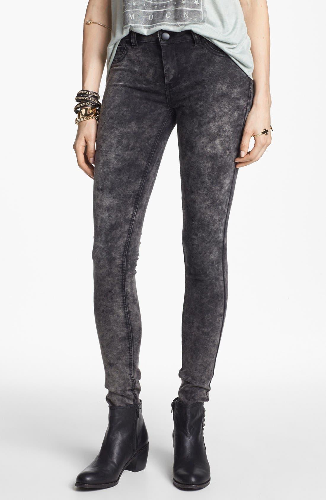 Alternate Image 1 Selected - Fire Marble Wash Skinny Jeans (Dark Grey) (Juniors)