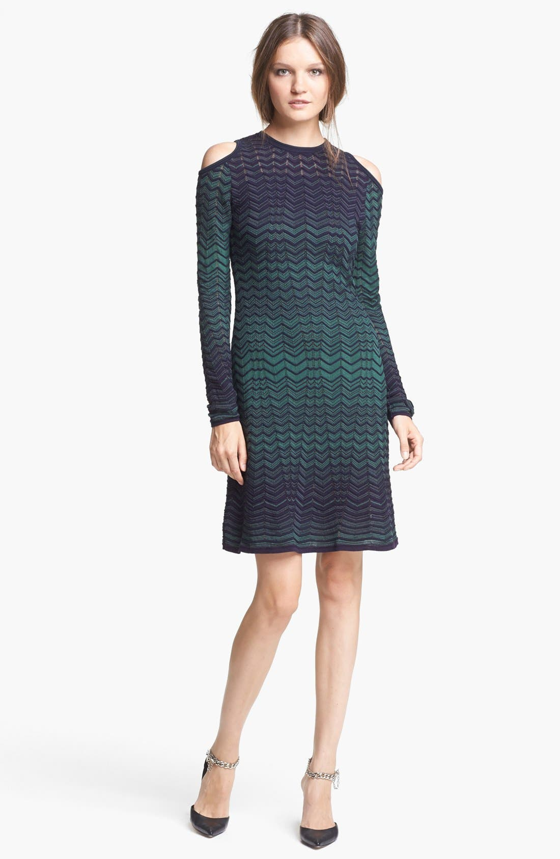 Main Image - M Missoni Cold Shoulder Zigzag Knit Dress