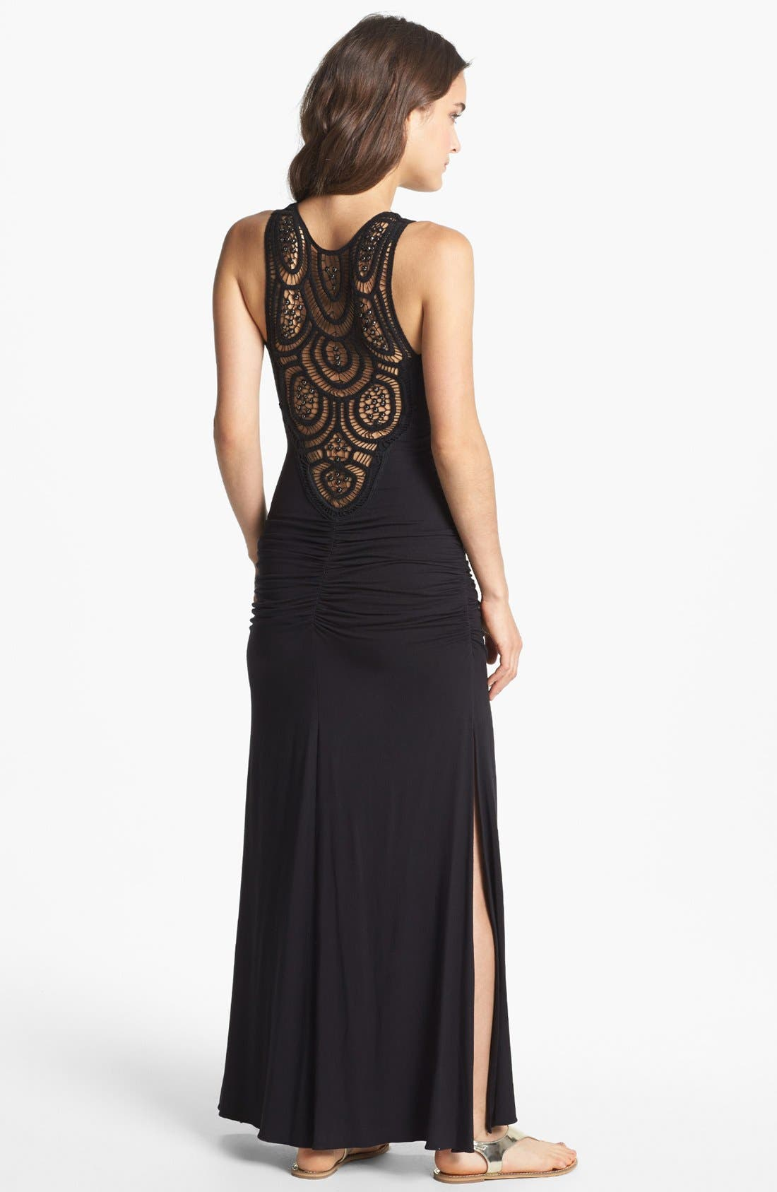 Alternate Image 2  - Sky 'Georgina' Crochet Back Jersey Tank Maxi Dress