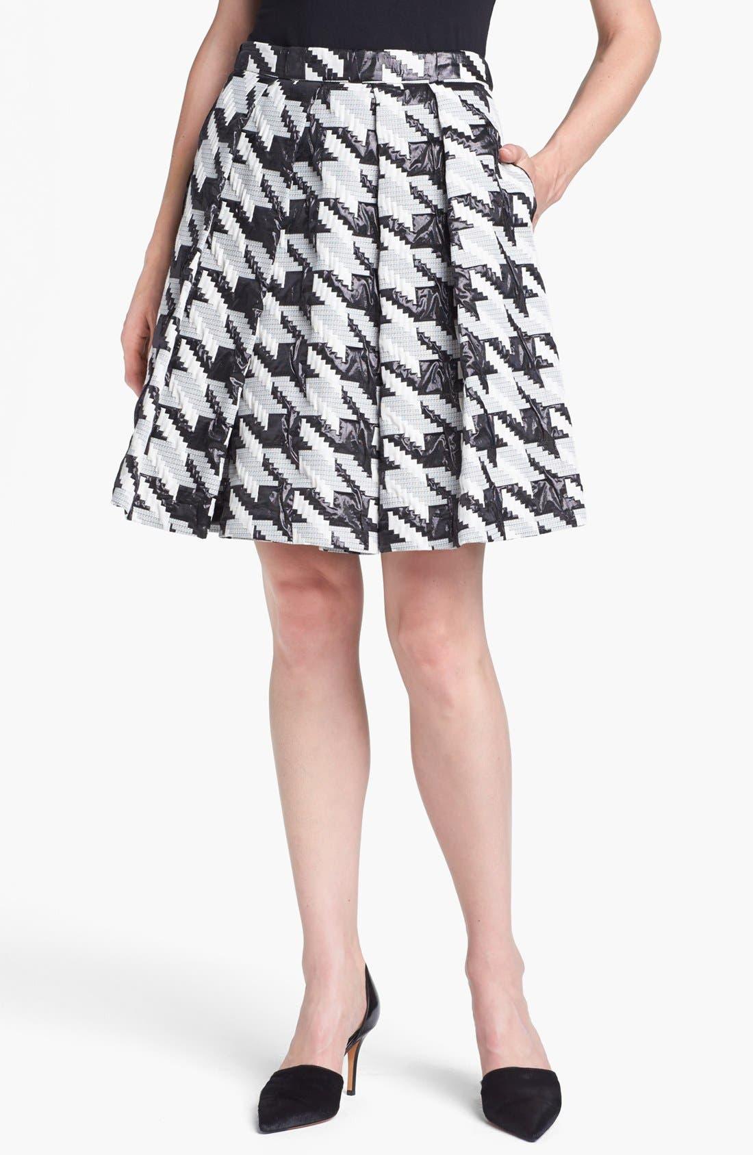 Main Image - Pink Tartan Houndstooth Jacquard Pleat Skirt
