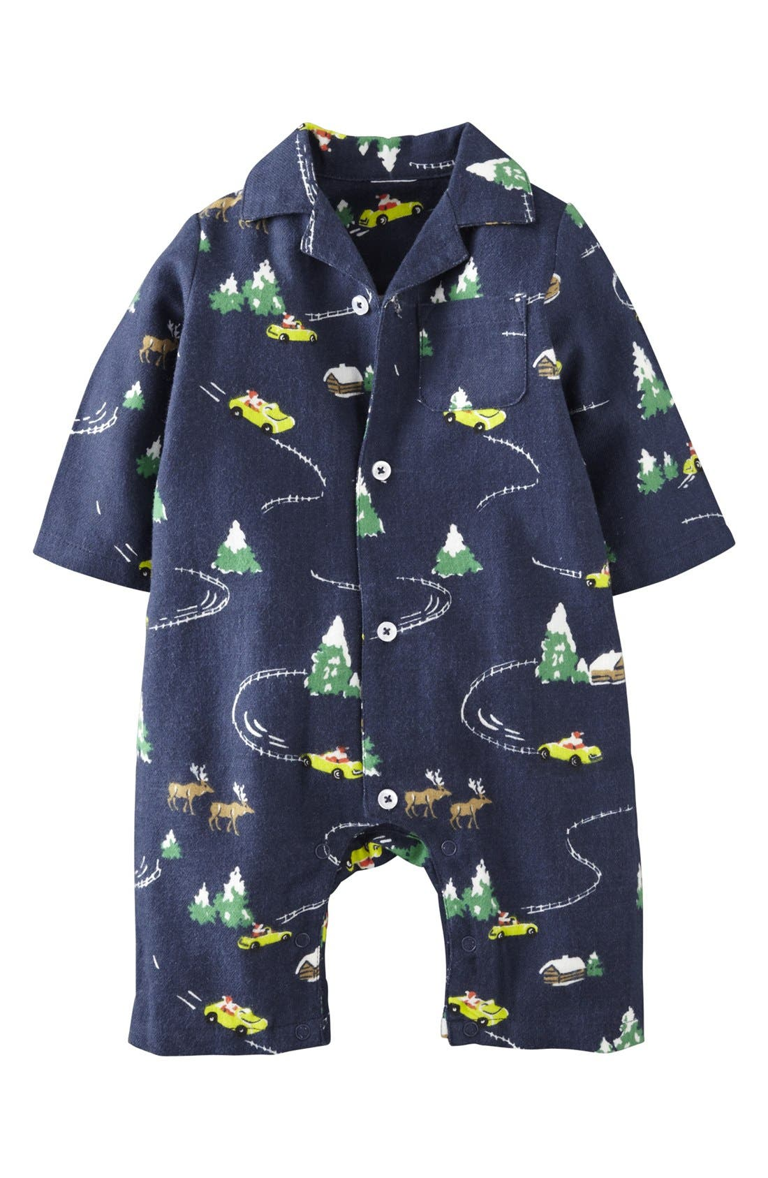 Main Image - Mini Boden Flannel Romper (Baby Boys)