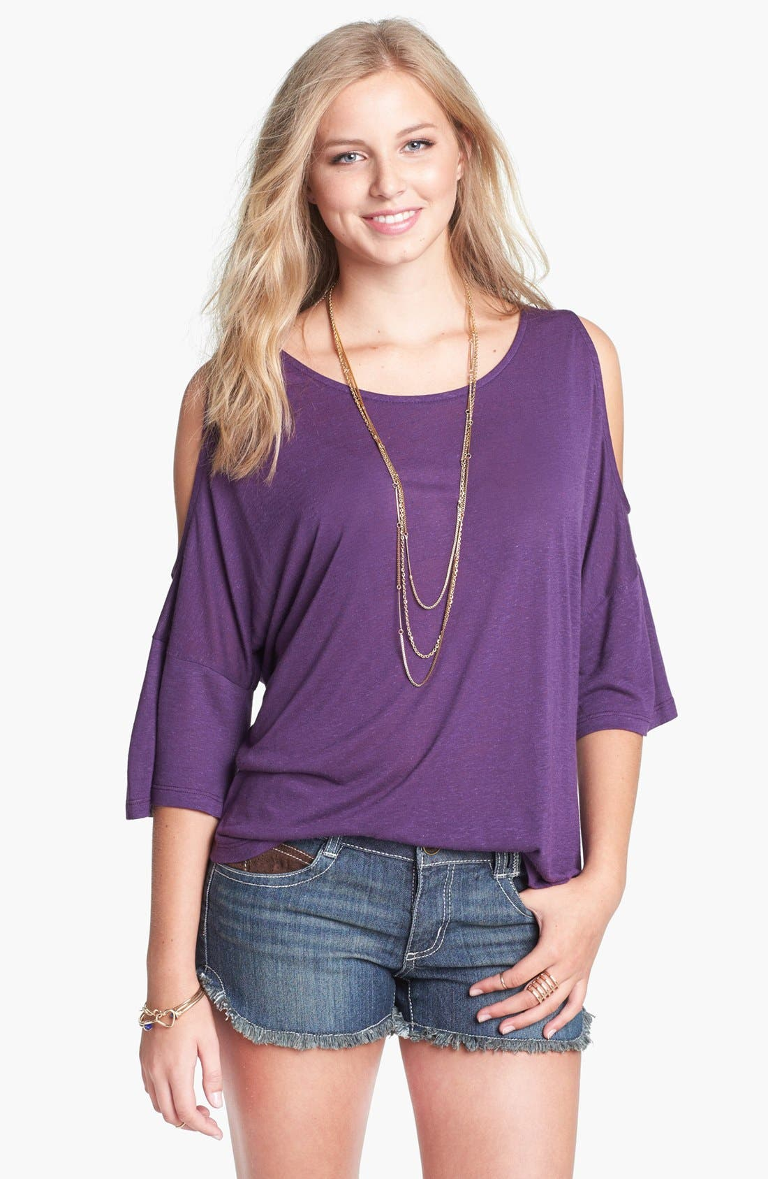 Main Image - Painted Threads Cold Shoulder Top (Juniors)