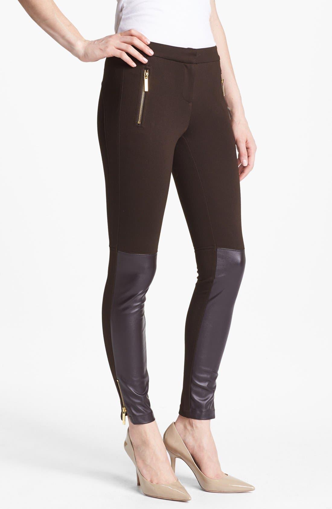 Alternate Image 1 Selected - MICHAEL Michael Kors Faux Leather Trim Knit Pants