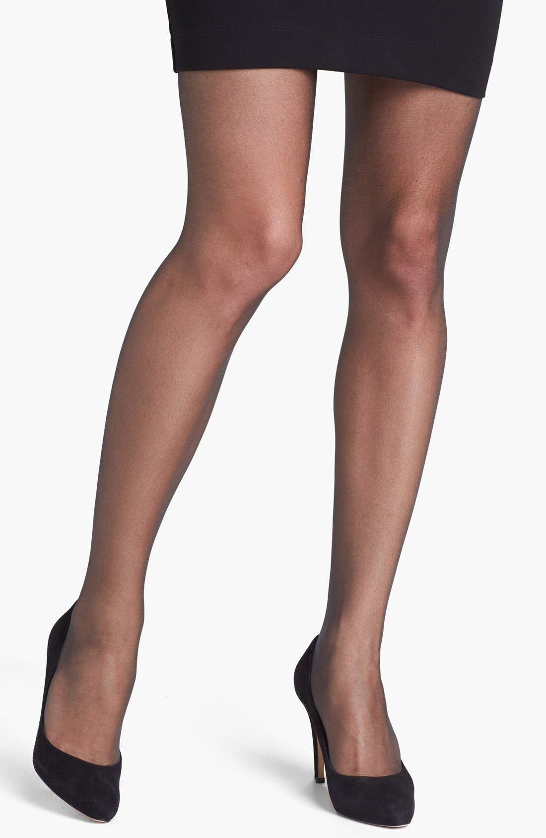'Infinite Sheer' Control Top Pantyhose,                             Main thumbnail 1, color,                             Black