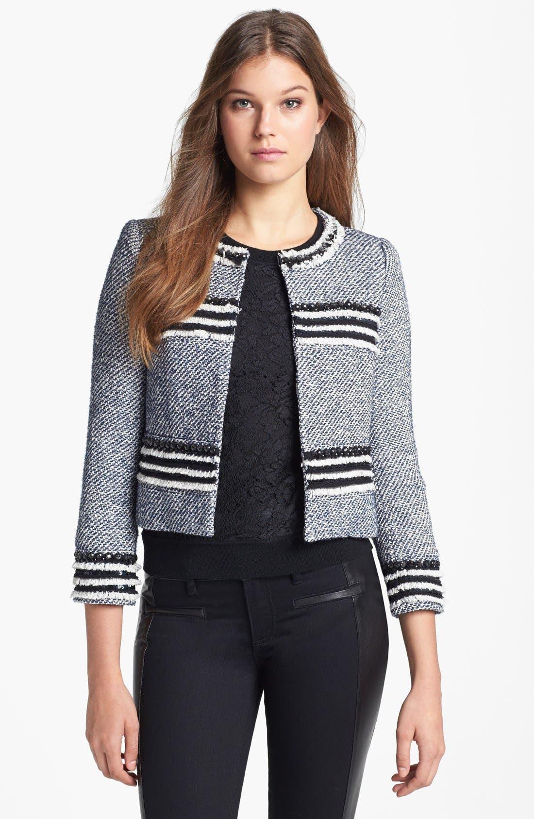 Main Image - Tory Burch 'Rosemary' Crop Tweed Jacket