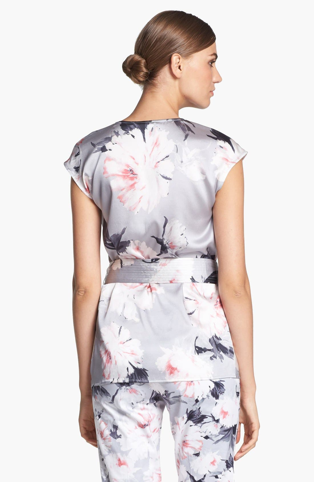 Alternate Image 4  - St. John Collection Dahlia Print Charmeuse Blouse (Online Only)