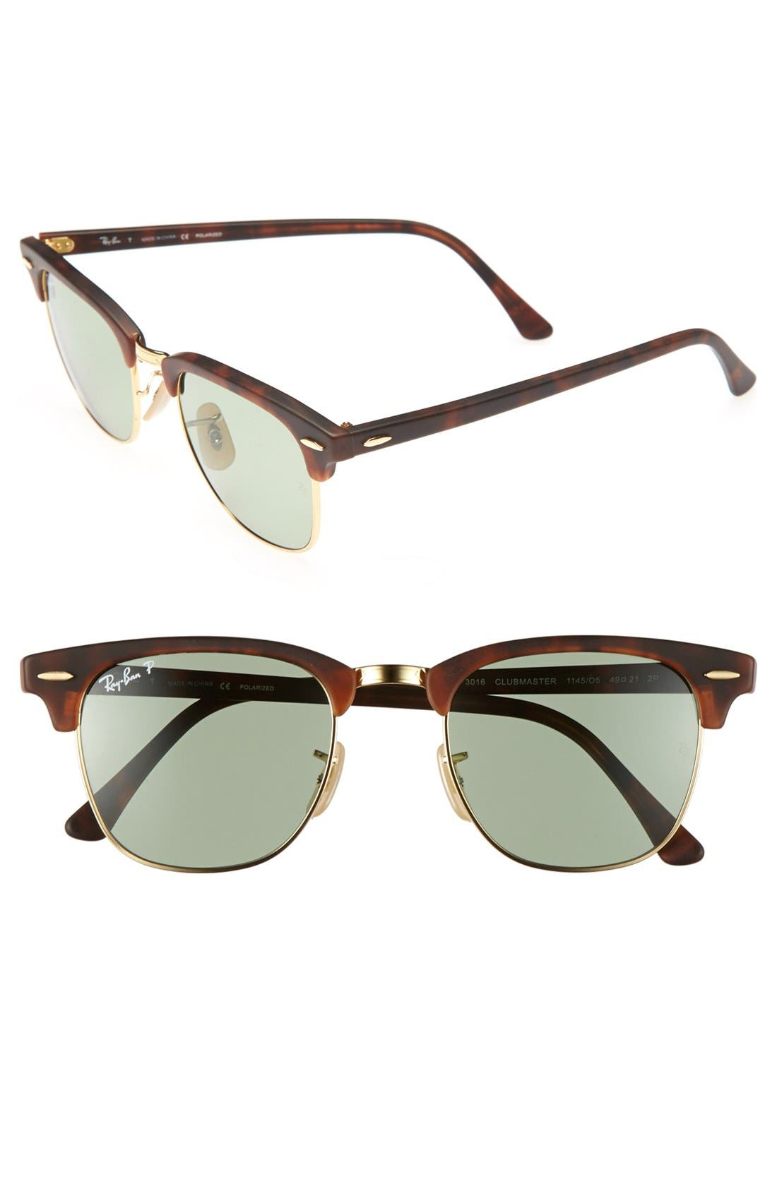 Alternate Image 1 Selected - Ray-Ban 'Clubmaster' 49mm Polarized Sunglasses