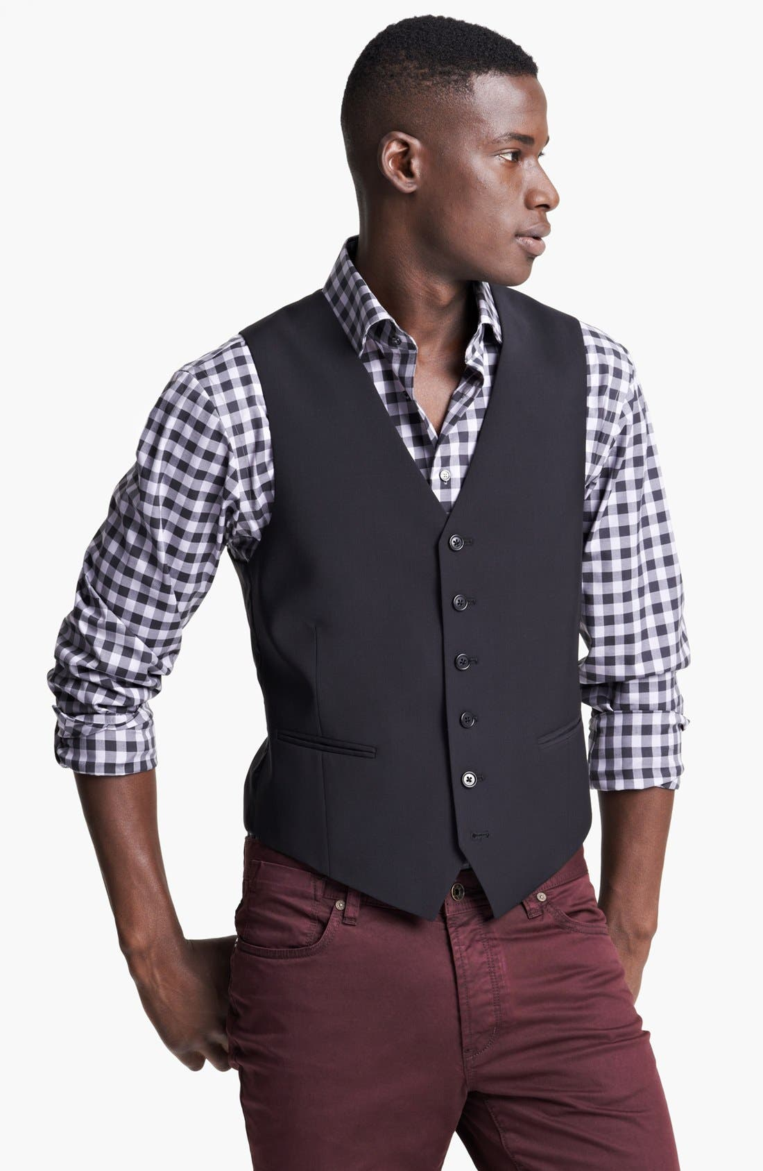 Alternate Image 1 Selected - John Varvatos Star USA 'Pitt' Trim Fit Wool Vest