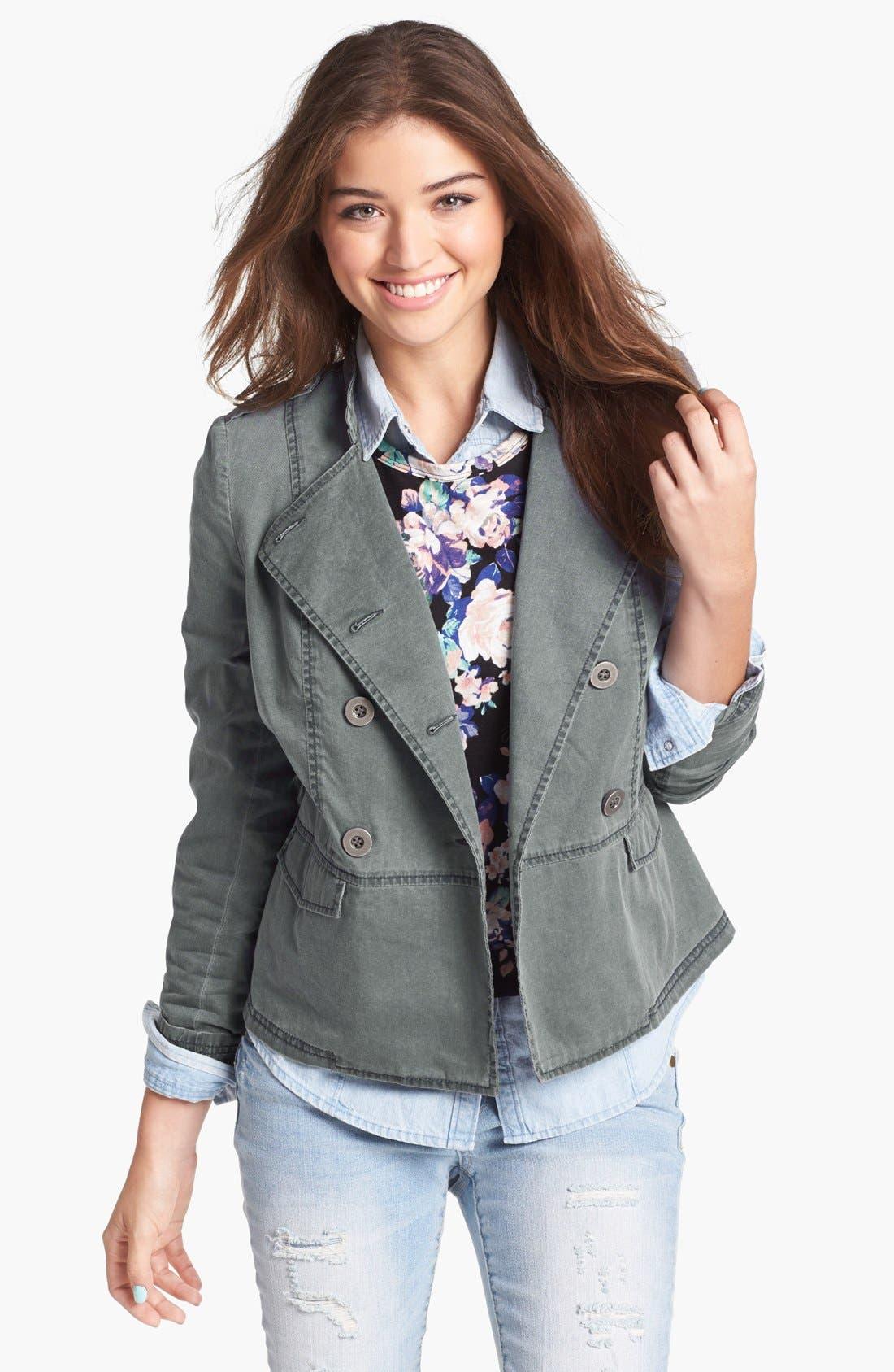 Alternate Image 1 Selected - Rubbish® Denim Peplum Jacket (Juniors)