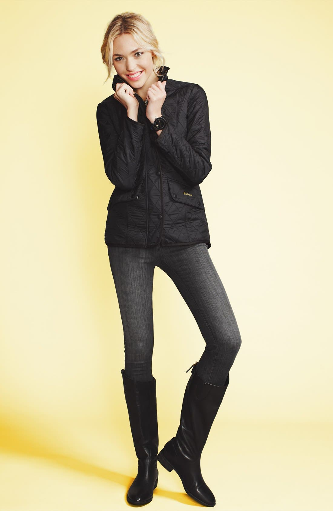 Alternate Image 1 Selected - Barbour 'Calvary' Jacket, Burberry Brit Jeans & Sam Edelman Boots
