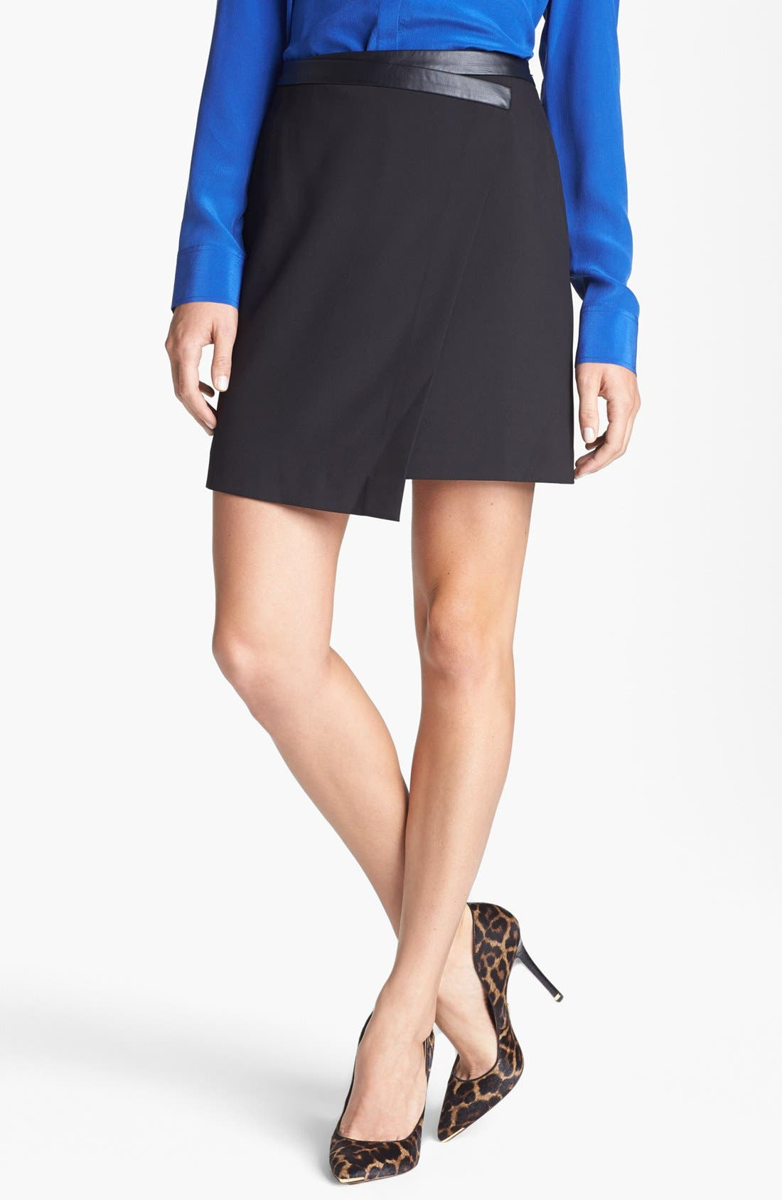 Asymmetrical Faux Wrap Skirt,                         Main,                         color, Black