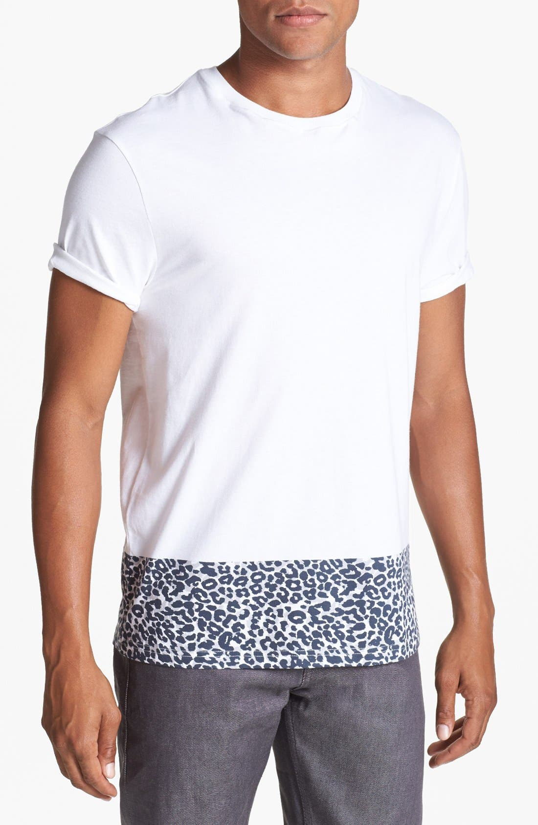 Main Image - Topman Leopard Print Trim T-Shirt