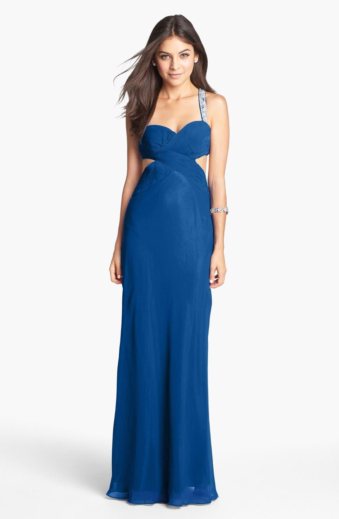 Alternate Image 1 Selected - Faviana Embellished Side Cutout Chiffon Gown