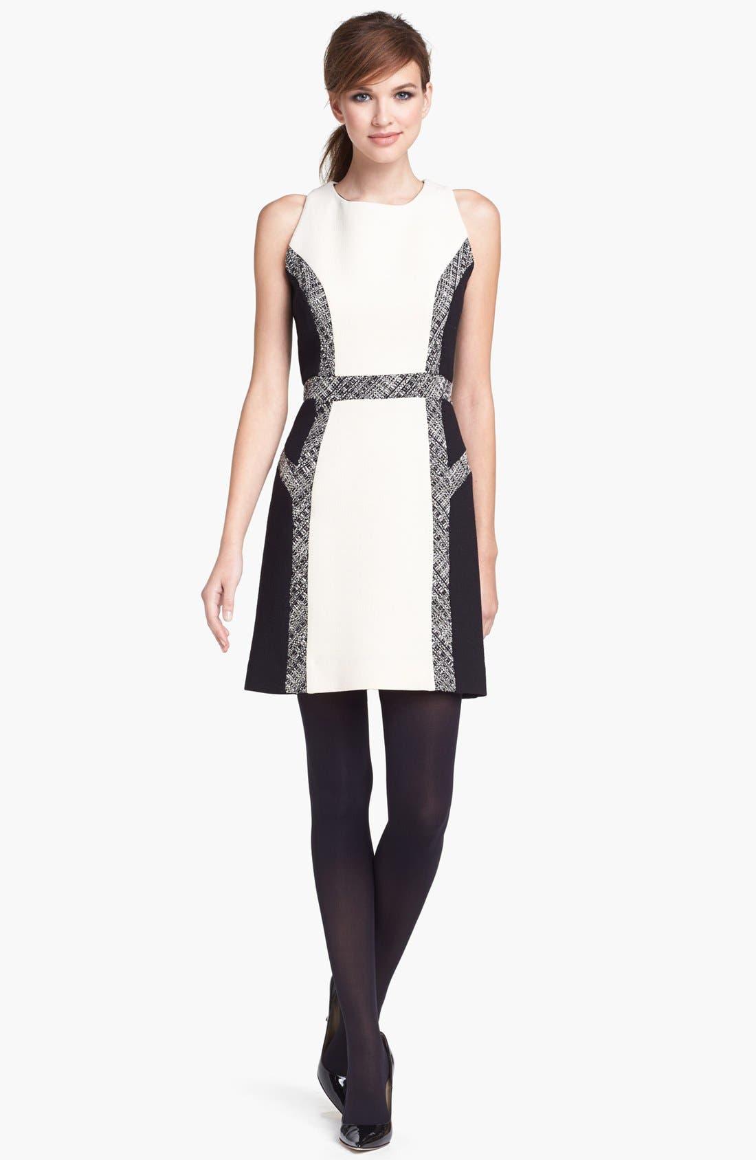 Main Image - Milly Tweed Inset Wool Sheath Dress