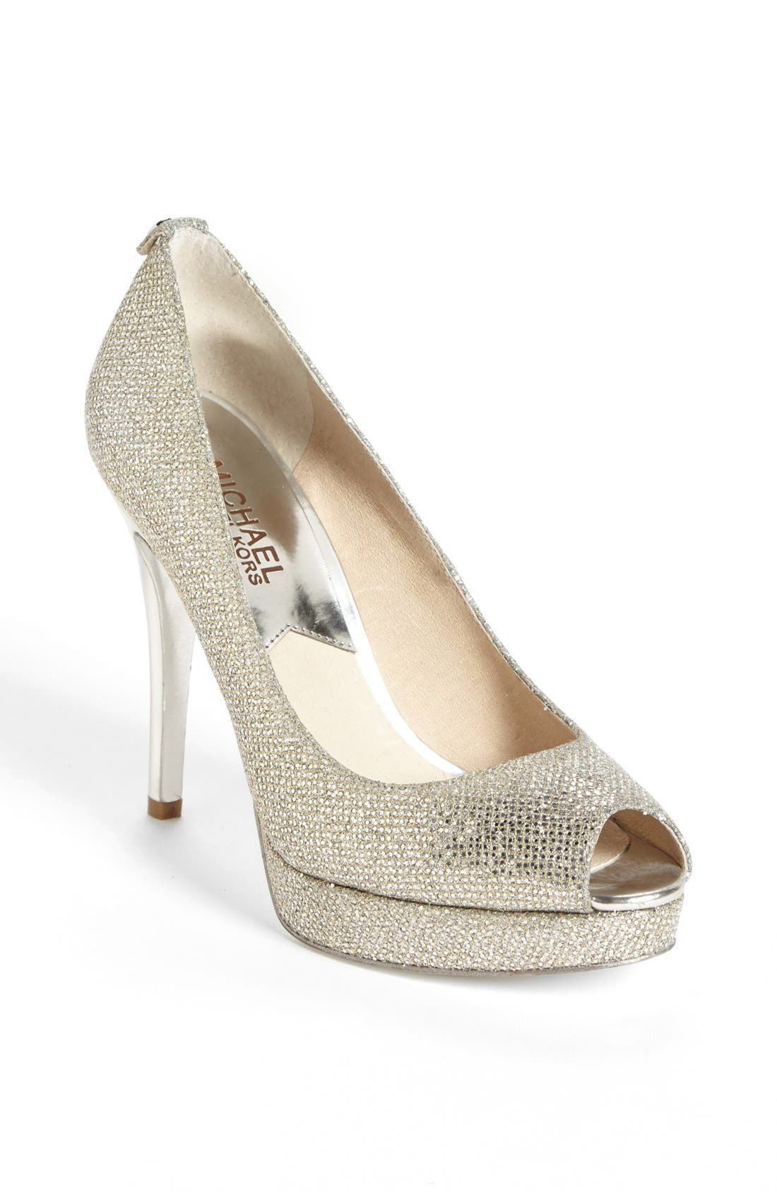 'York' Platform Pump,                             Main thumbnail 1, color,                             Silver