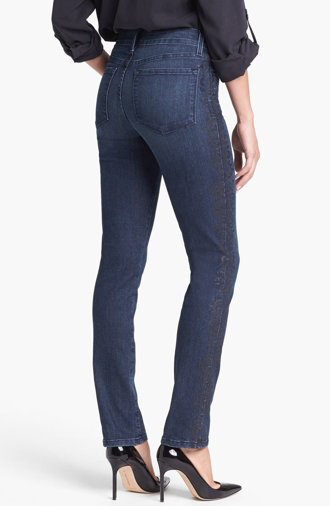 Alternate Image 3  - NYDJ 'Sheri' Lace Detail Stretch Skinny Stretch Jeans (Old River)
