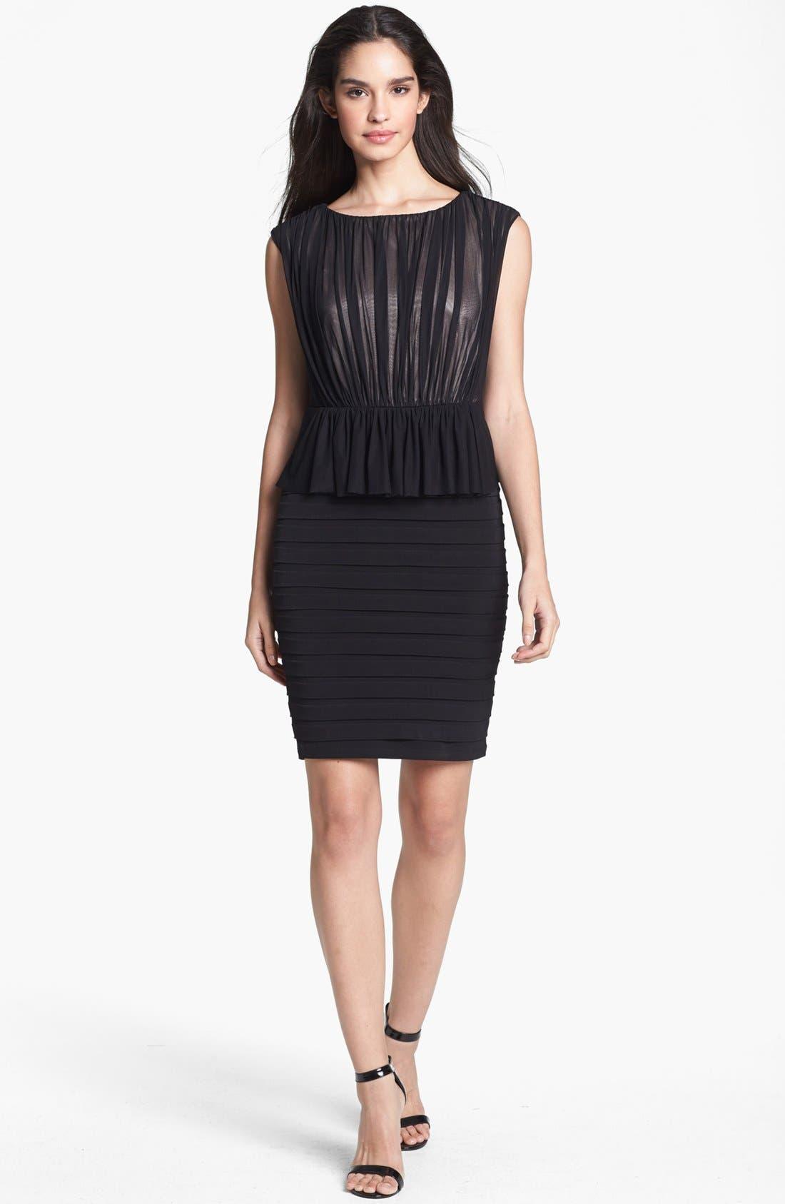 Alternate Image 1 Selected - JAX Mixed Media Peplum Sheath Dress