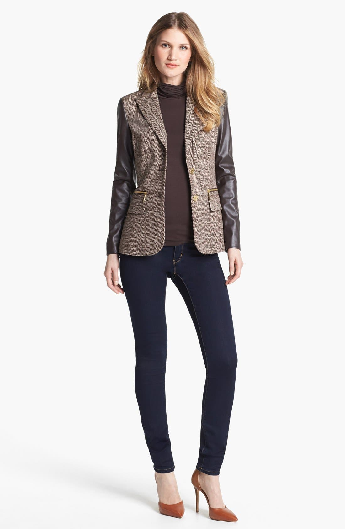 Alternate Image 4  - MICHAEL Michael Kors Faux Leather Sleeve Tweed Blazer