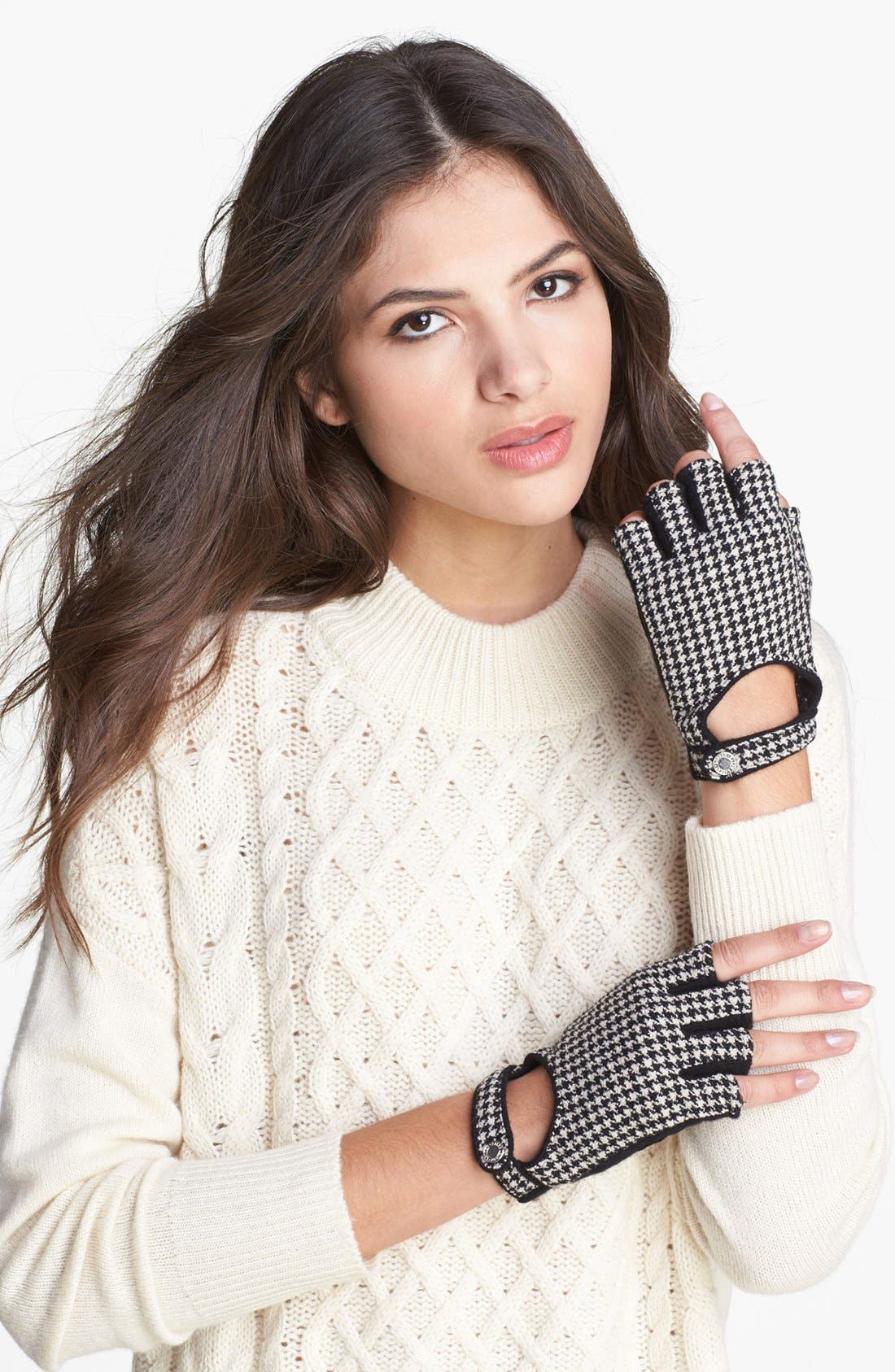 Alternate Image 1 Selected - Lauren Ralph Lauren Houndstooth Fingerless Driving Gloves