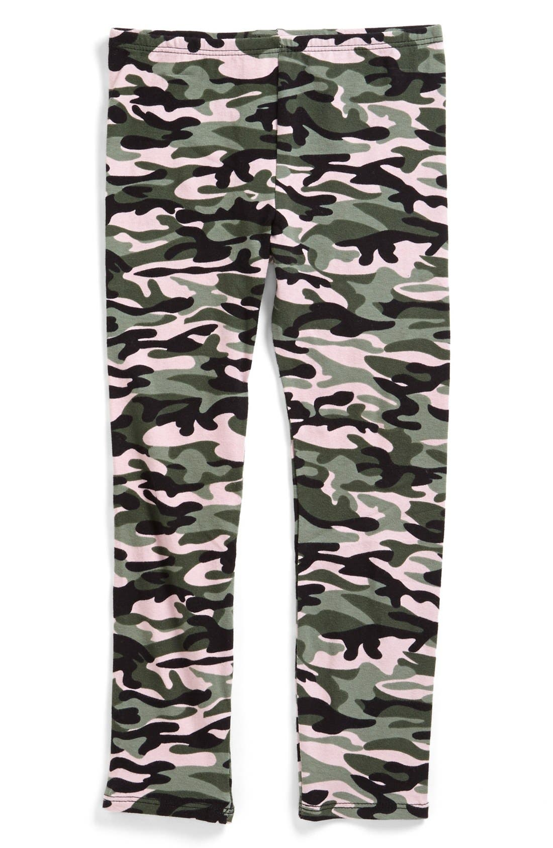 Alternate Image 1 Selected - Jenna & Jessie Camo Print Leggings (Little Girls)