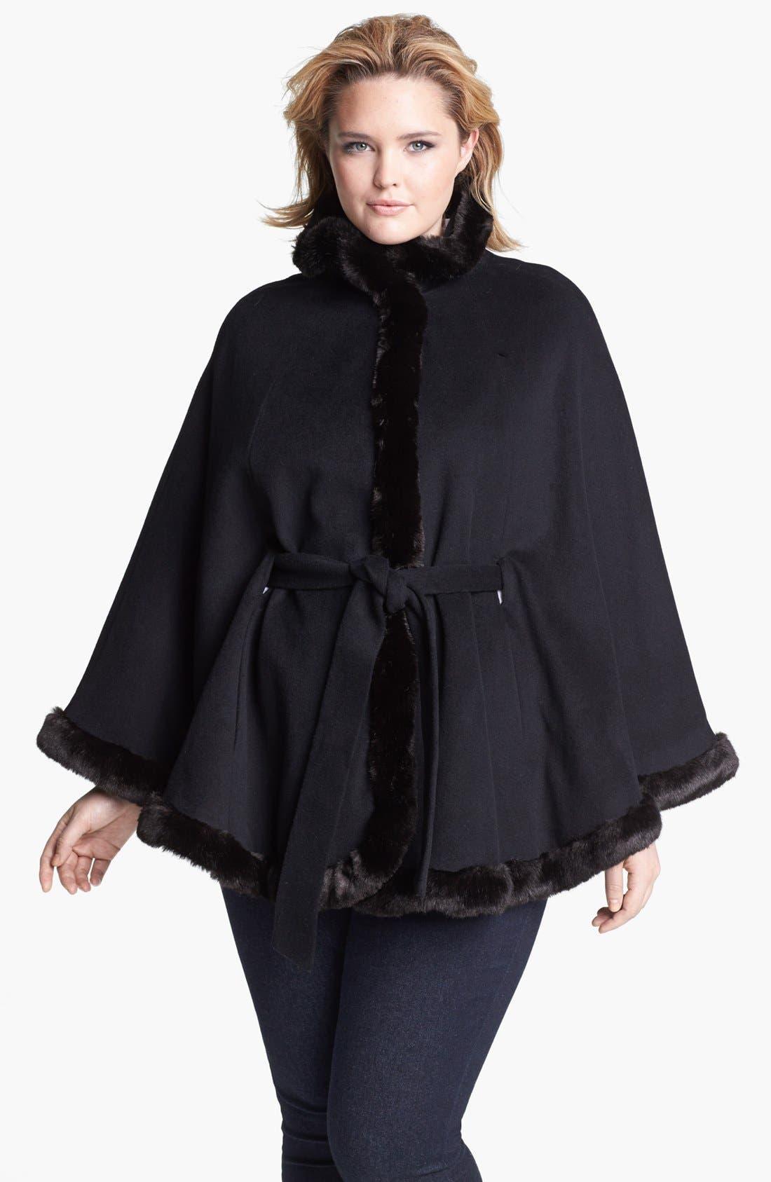 Main Image - Ellen Tracy Faux Fur Trim Belted Cape (Plus Size)