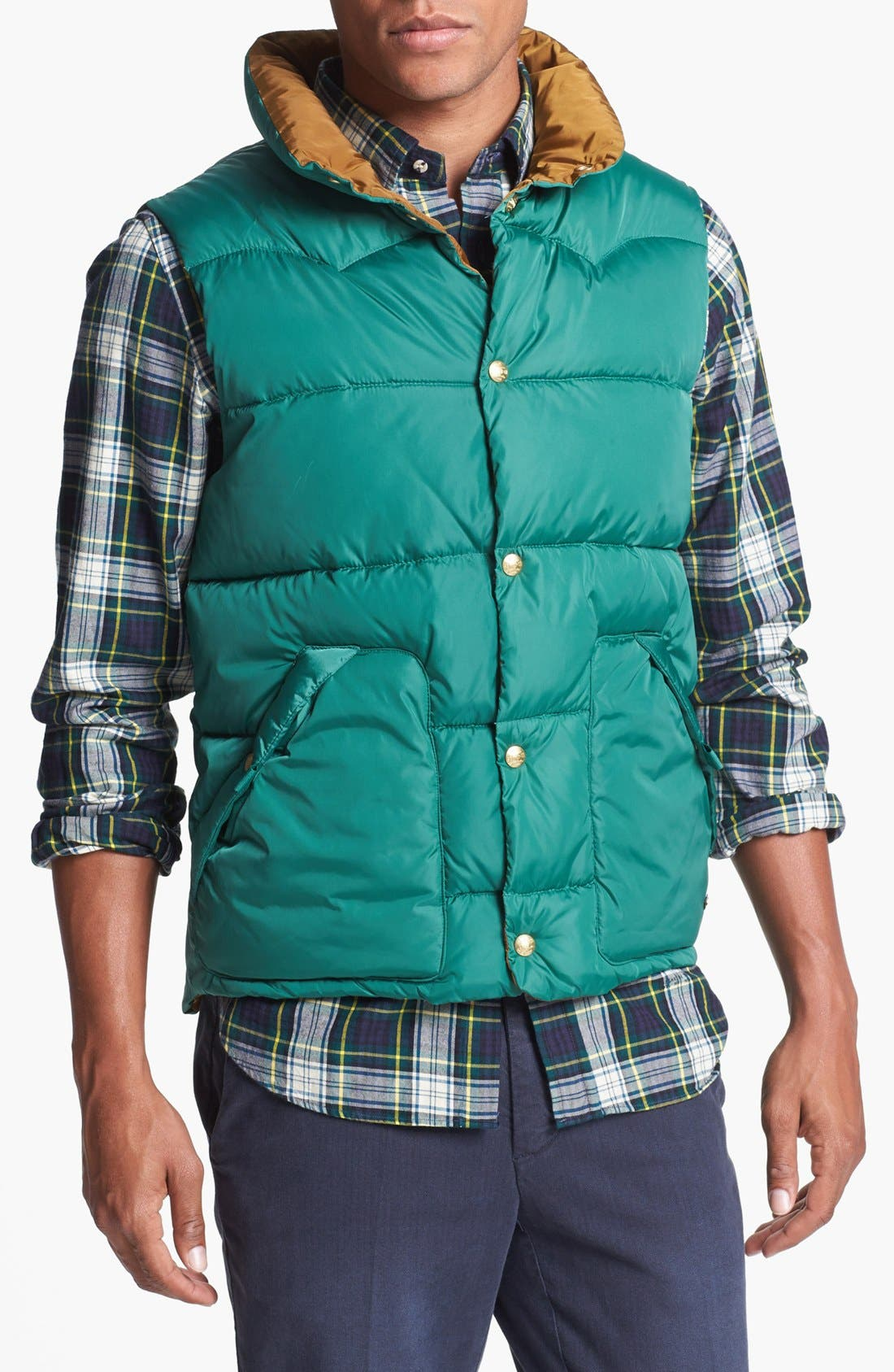 Reversible Quilted Vest,                         Main,                         color, Medium Green