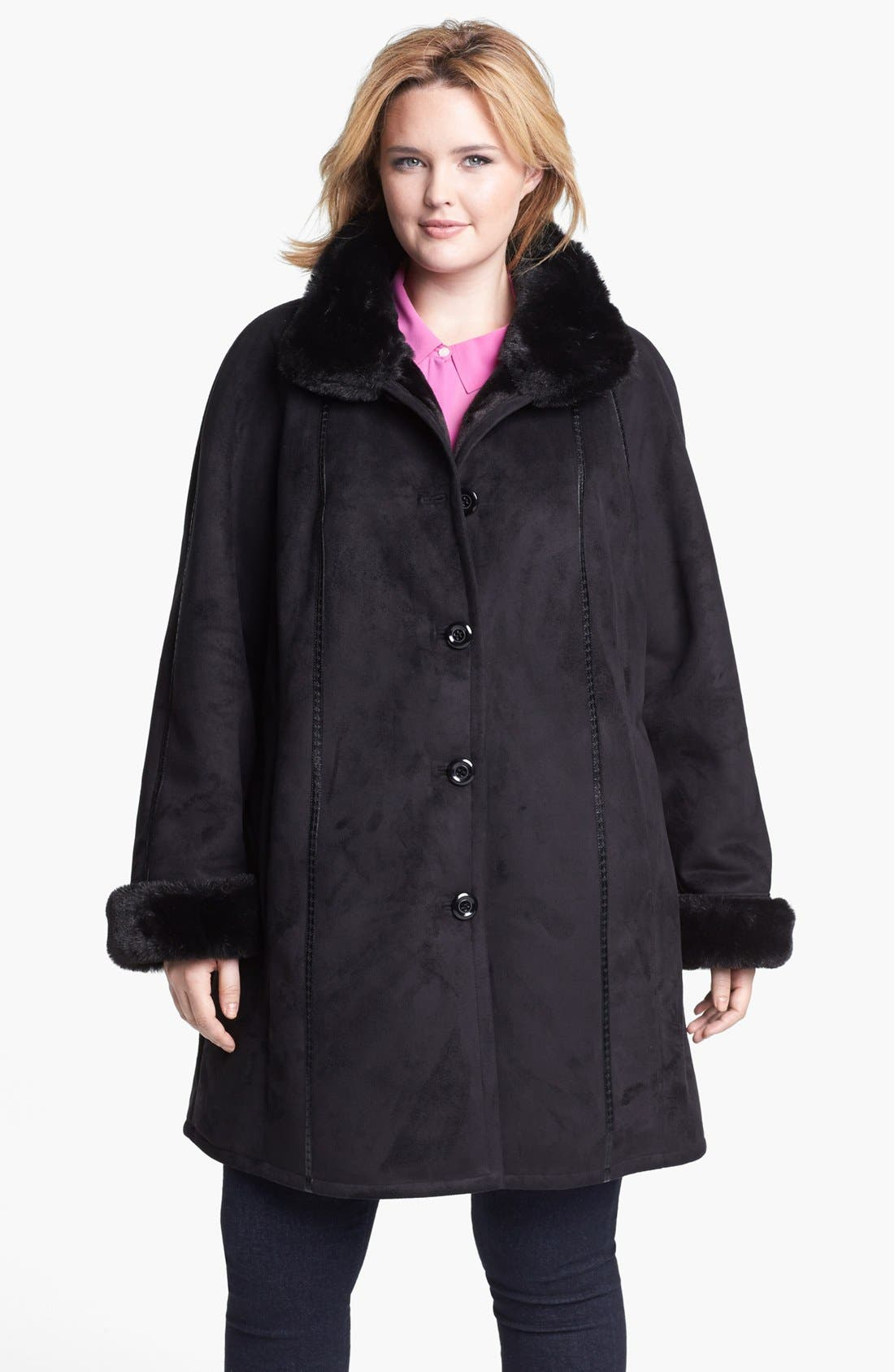 Alternate Image 1  - Gallery Stand Collar Faux Shearling Walking Coat (Plus Size)