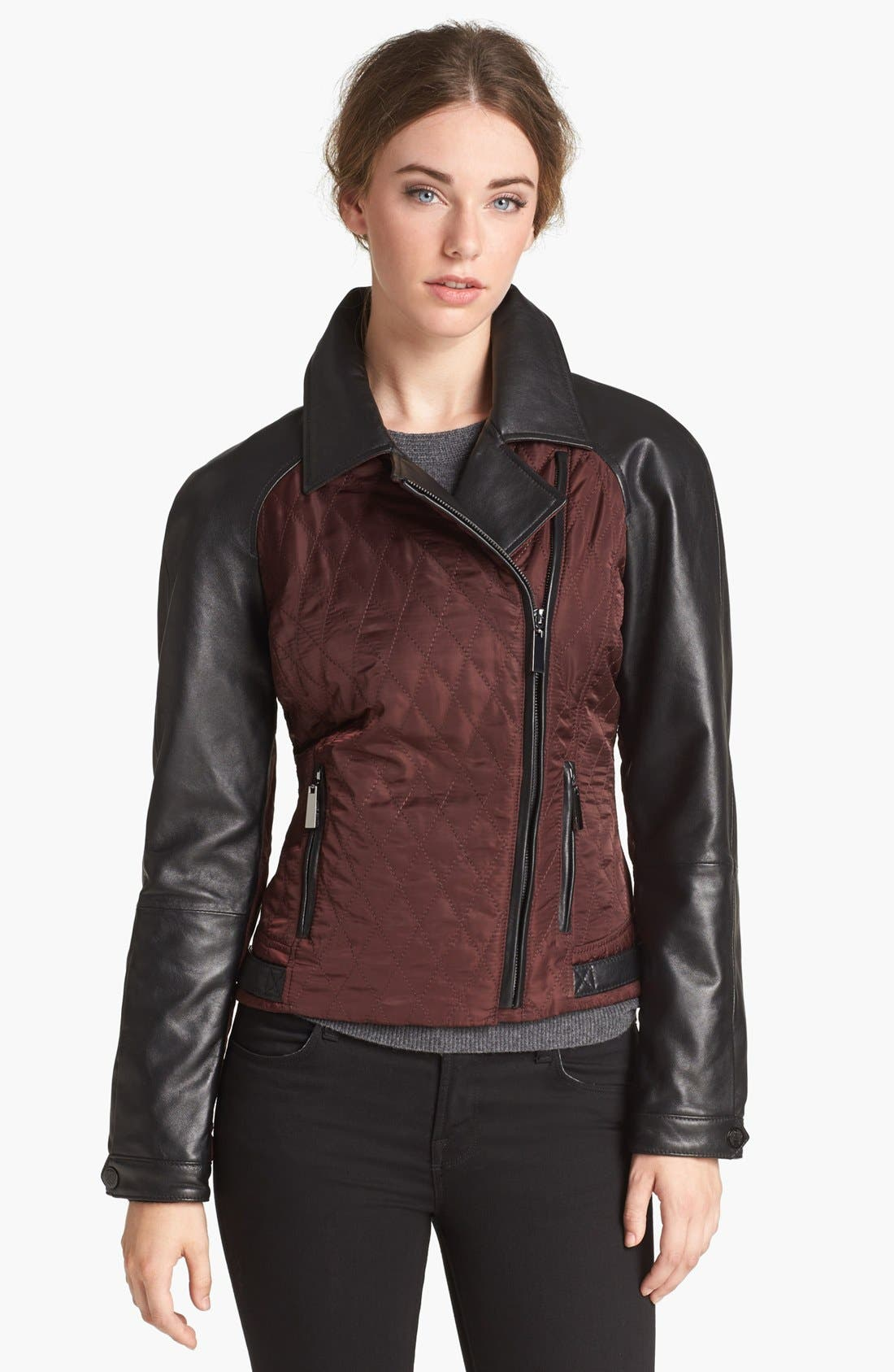 Alternate Image 1 Selected - Vince Camuto Leather & Quilted Fabric Moto Jacket (Online Only)