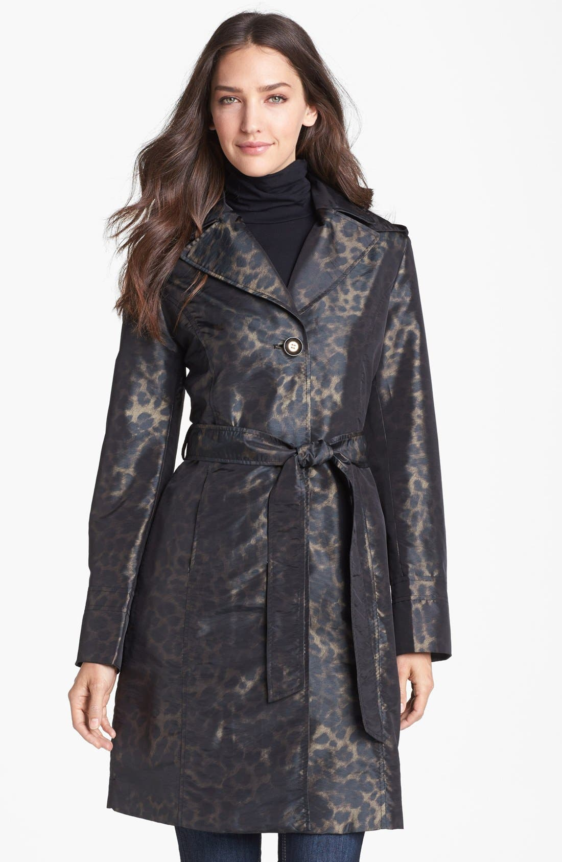 Main Image - Ellen Tracy Belted Leopard Print Raincoat (Online Only)