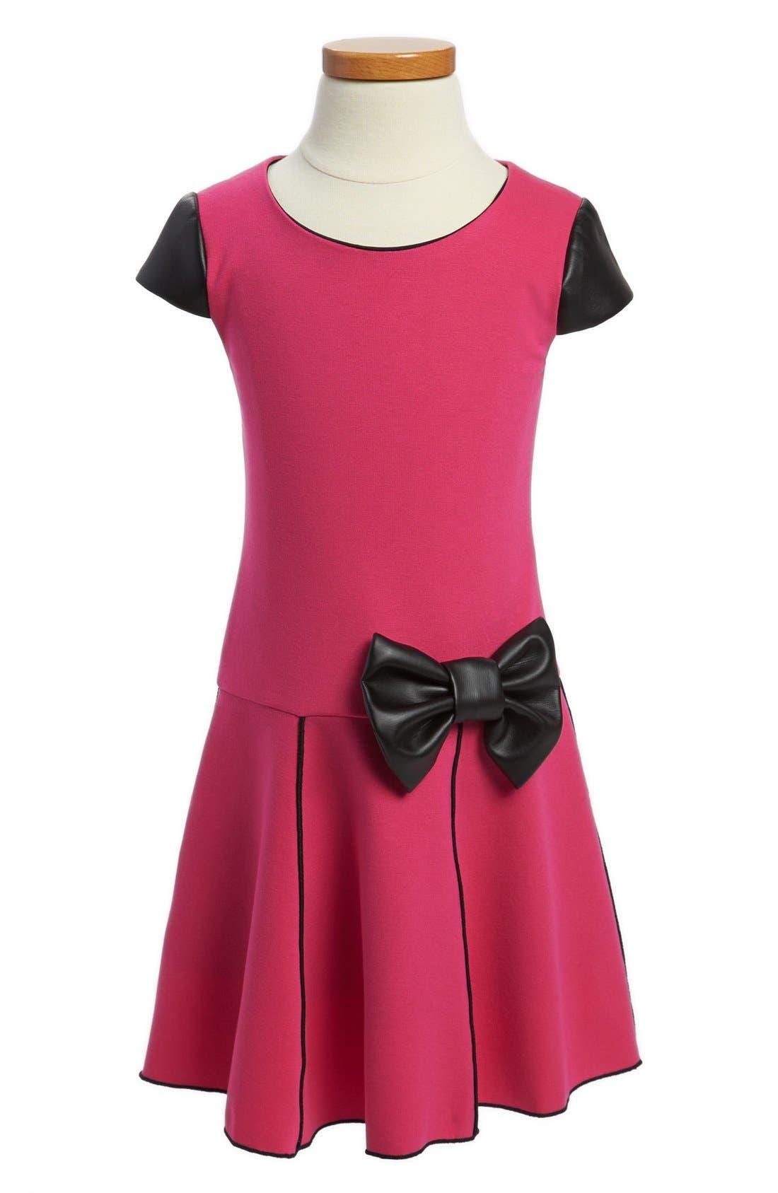 Alternate Image 1 Selected - Zoe Ltd Faux Leather Trim Dress (Little Girls & Big Girls)