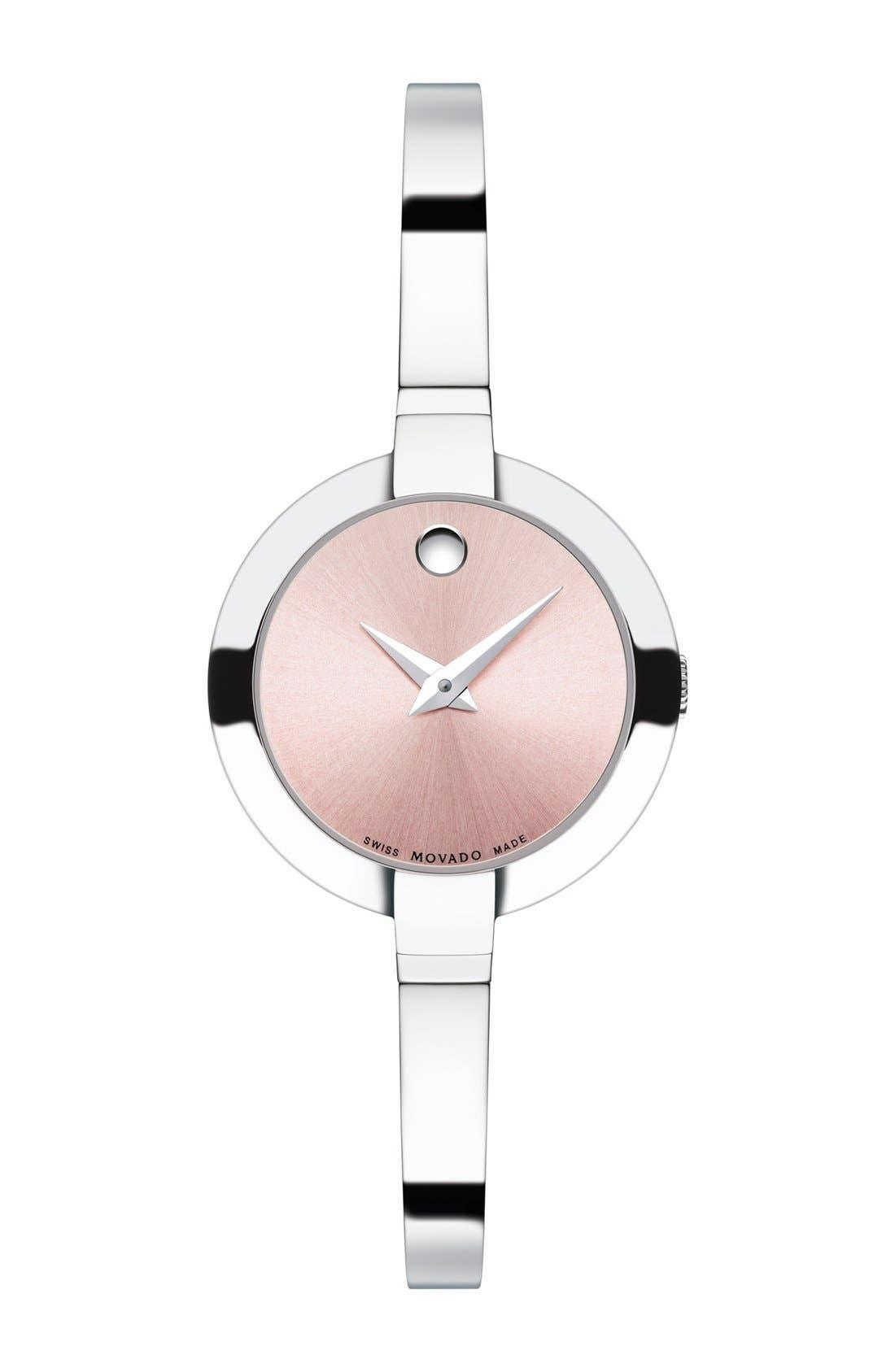 Bela Stainless Steel Bangle Bracelet Watch/Pink in Silver/ Pink