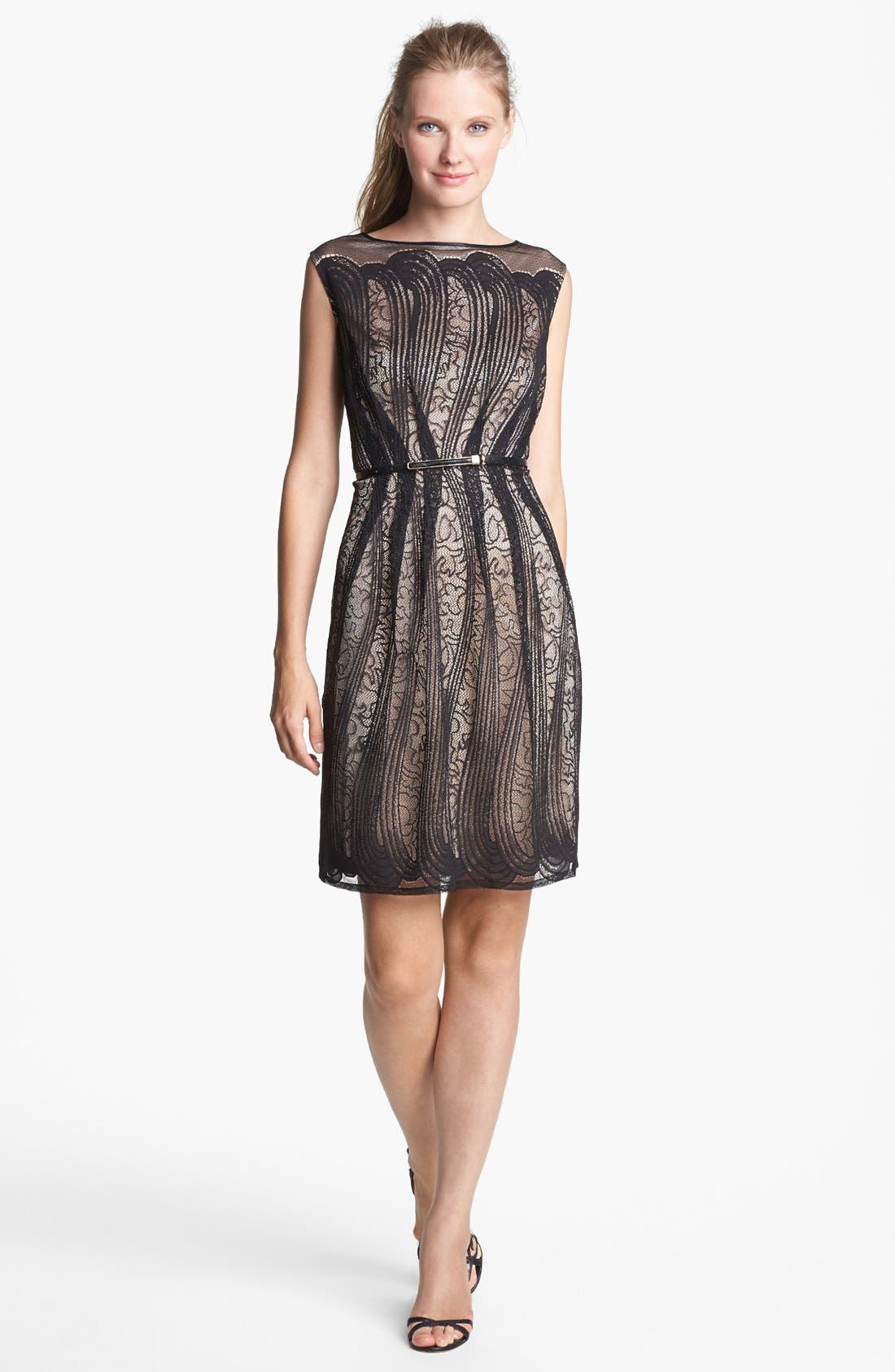 Alternate Image 1 Selected - Adrianna Papell Pleated Lace Dress (Regular & Petite)