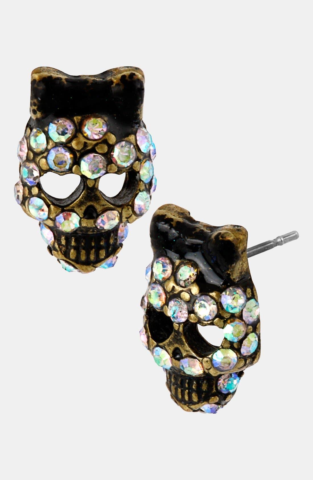 Alternate Image 1 Selected - Betsey Johnson Skull Stud Earrings