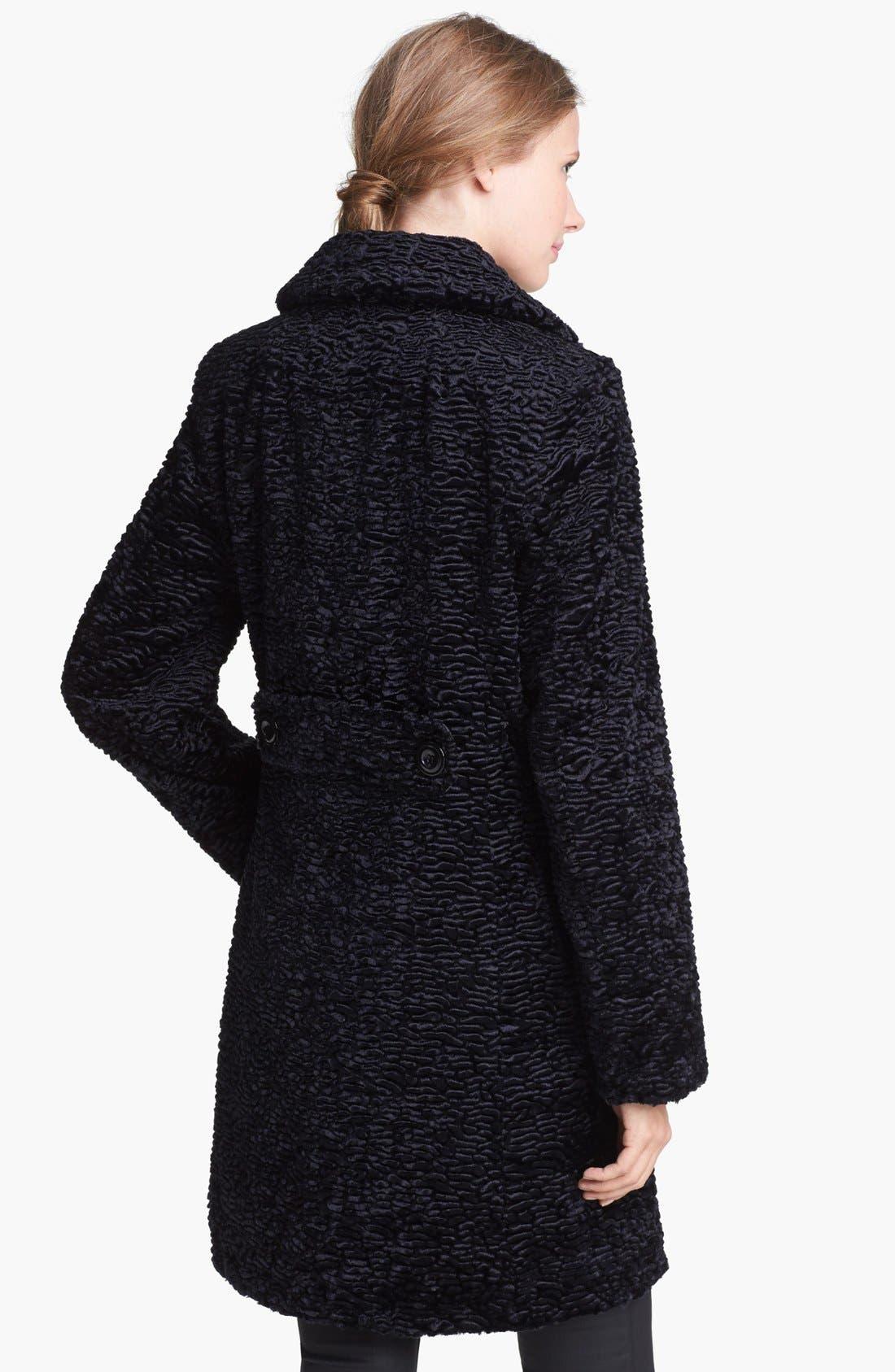 Alternate Image 2  - Gallery Notch Collar Faux Persian Lamb Fur Coat (Regular & Petite)