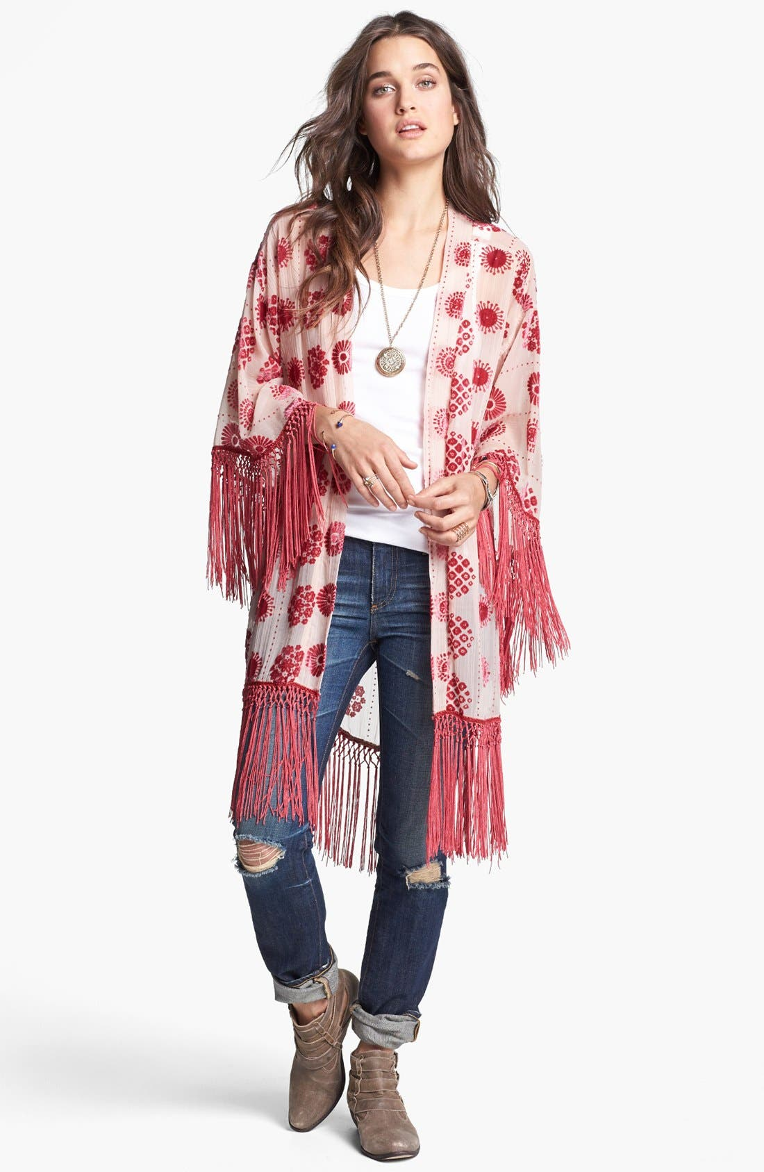 Alternate Image 1 Selected - Free People Burnout Fringe Robe