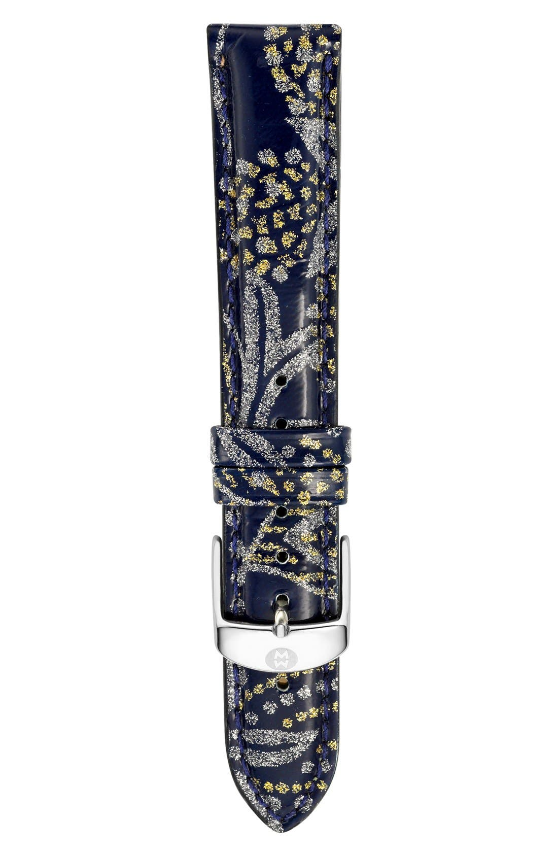 Alternate Image 1 Selected - MICHELE 18mm Paisley Pattern Patent Leather Watch Strap