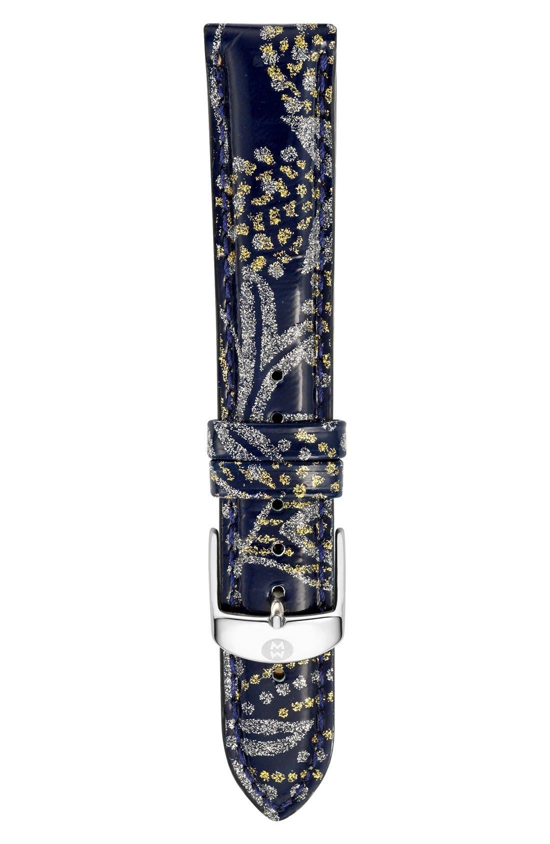Main Image - MICHELE 18mm Paisley Pattern Patent Leather Watch Strap