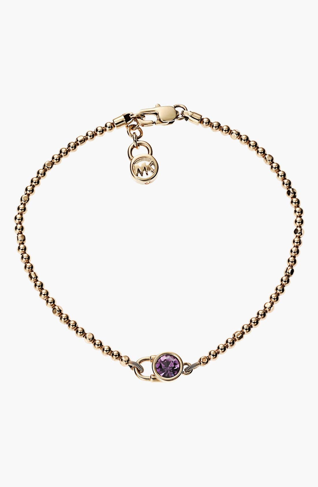 Alternate Image 1 Selected - Michael Kors 'Brilliance Botanicals' Lock Charm Line Bracelet