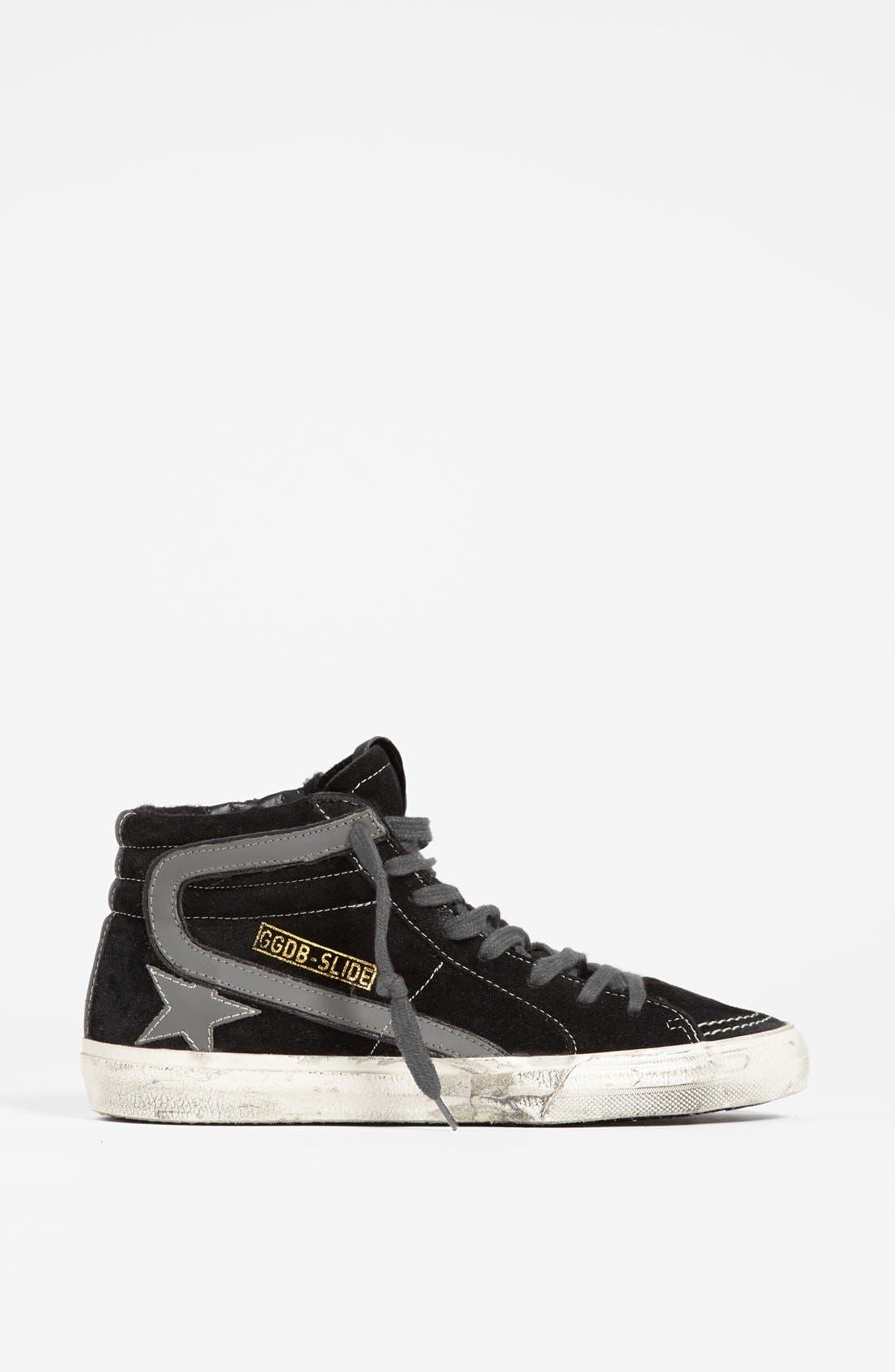 'Mid Top Slide' Sneaker,                             Alternate thumbnail 4, color,                             Black